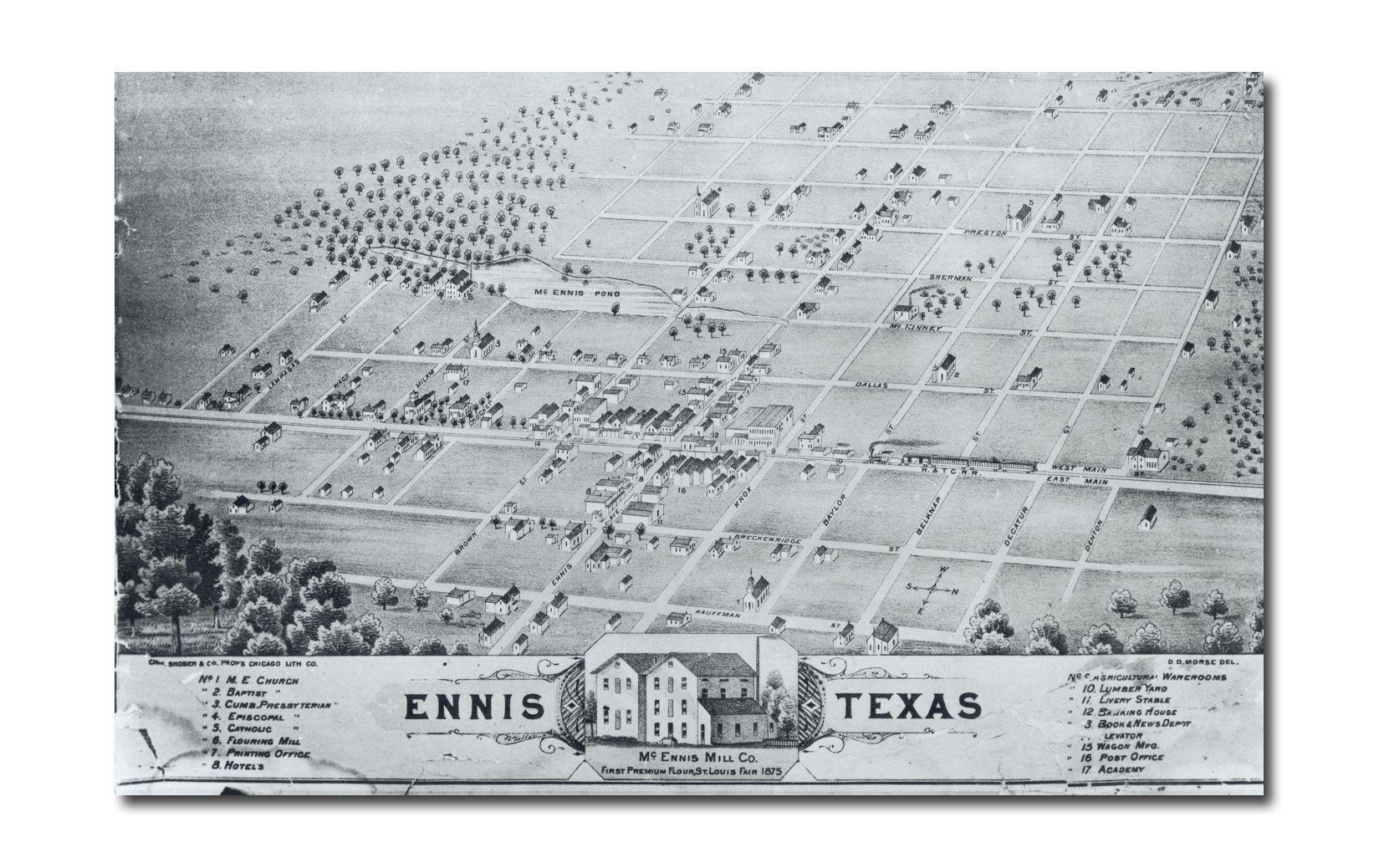 Ennis City Map - Ennis Texas • Mappery   Genealogy   Ennis Texas - Ennis Texas Map