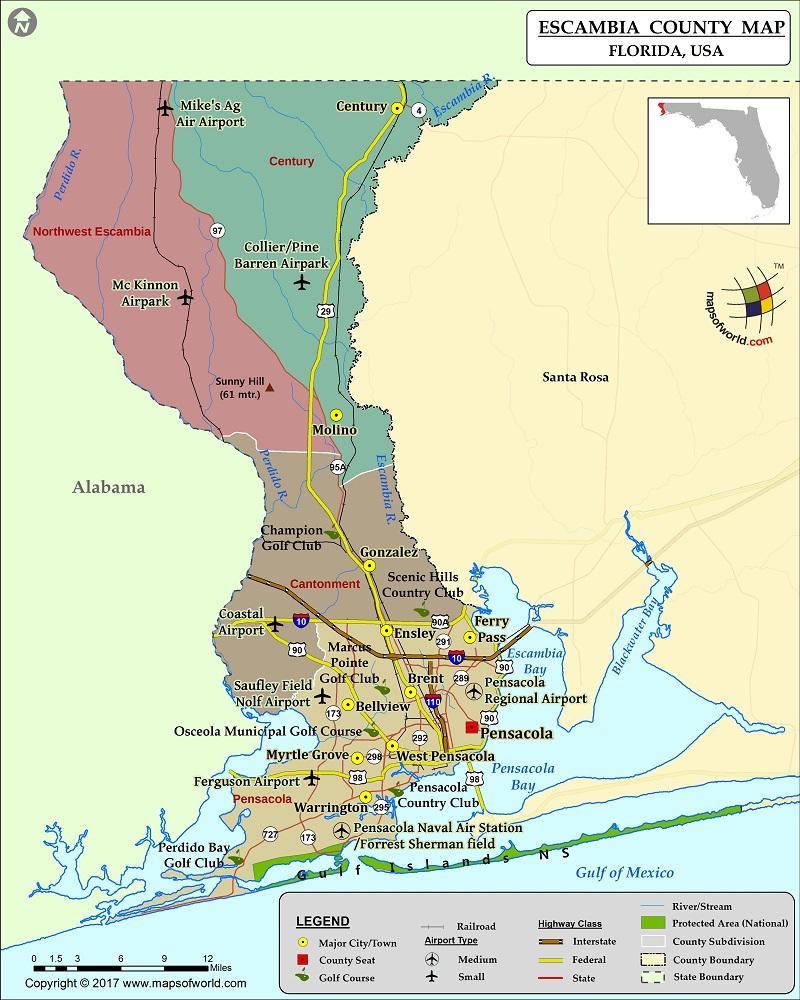 Escambia County Map, Florida - Florida Airparks Map