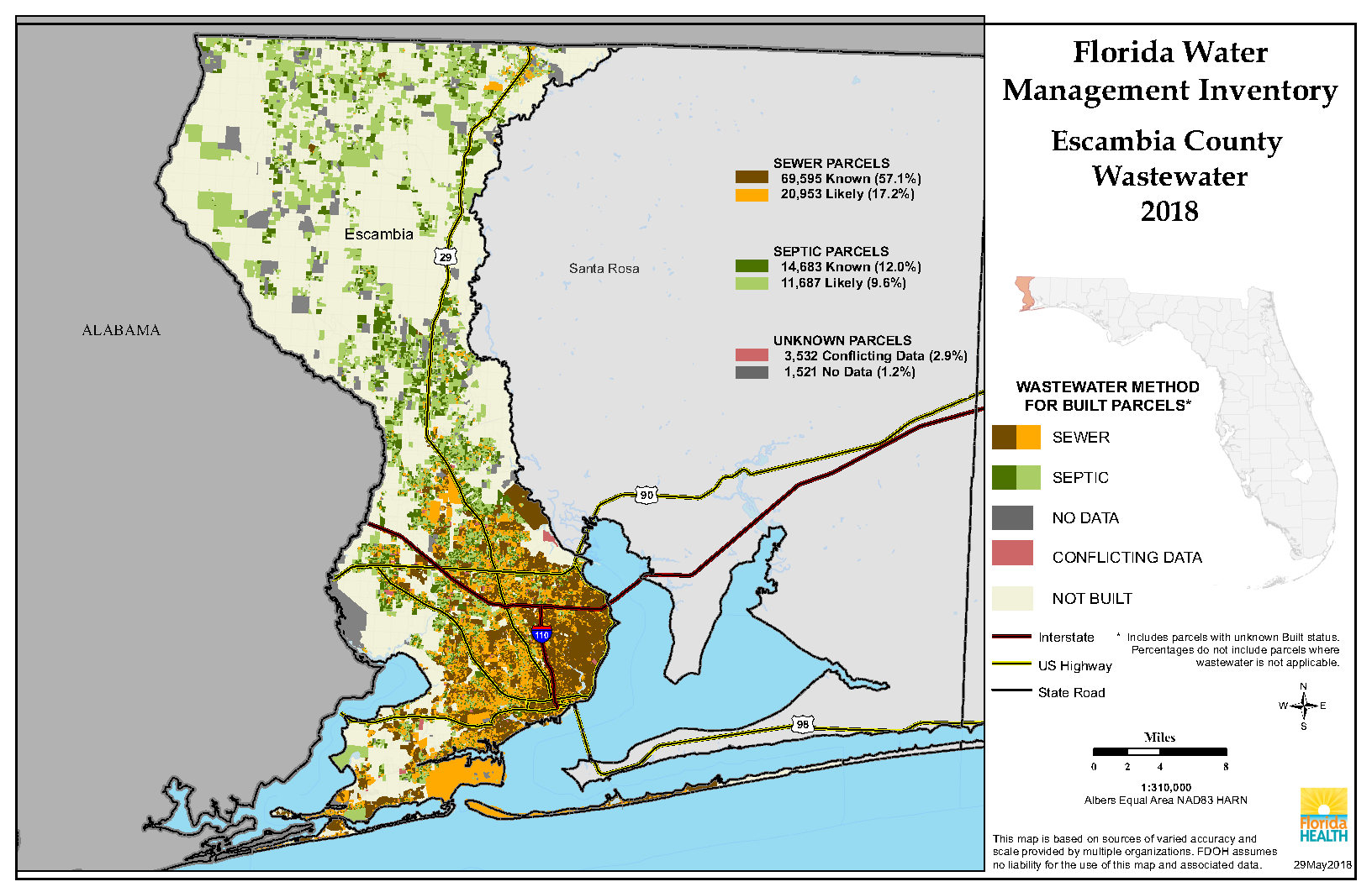 Escambia Florida Water Management Inventory Summary   Florida - Map Of Escambia County Florida