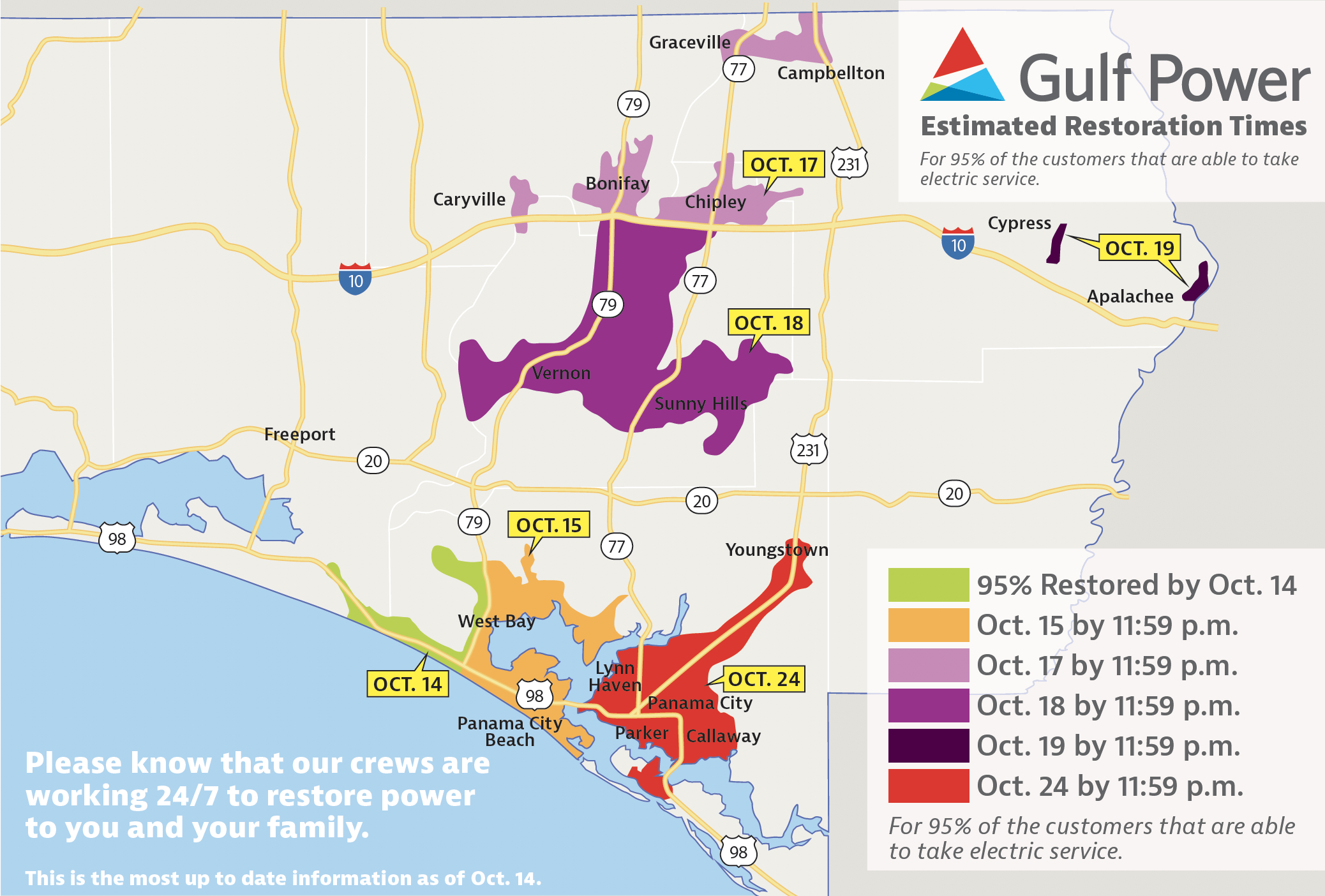 Estimated Restoration Times Announced For All Customers – Oct. 14 - Panama Florida Map