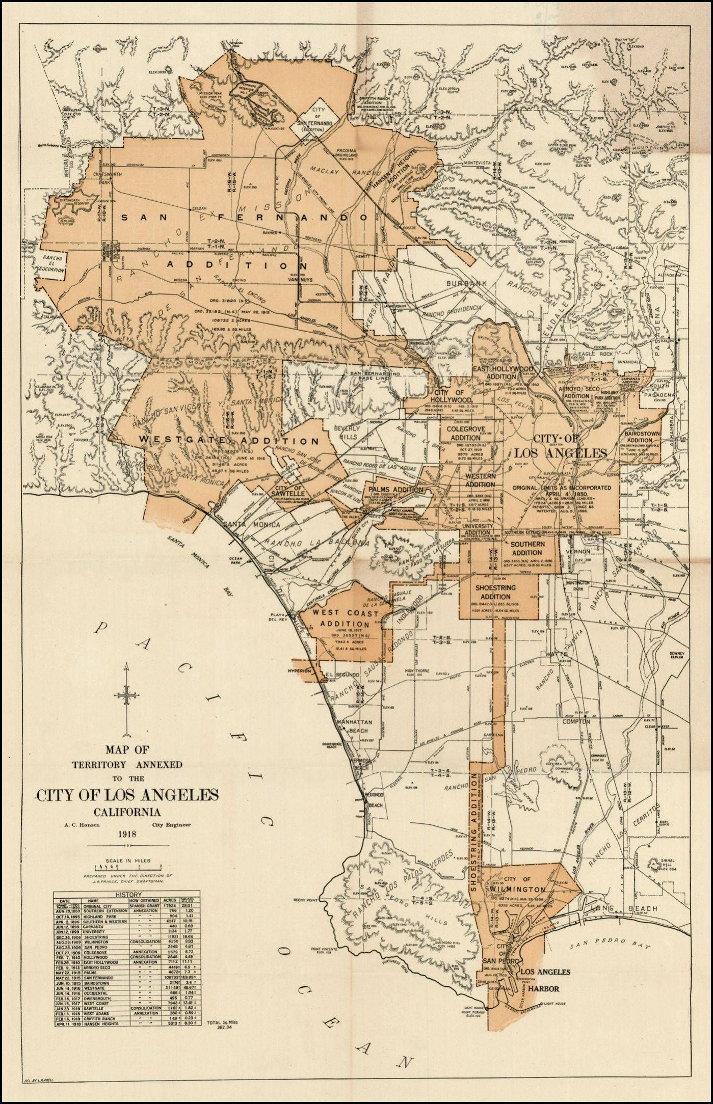 Expanding City Of Los Angeles, Circa 1918 | Maps | Pinterest | City - Old Maps Of Southern California