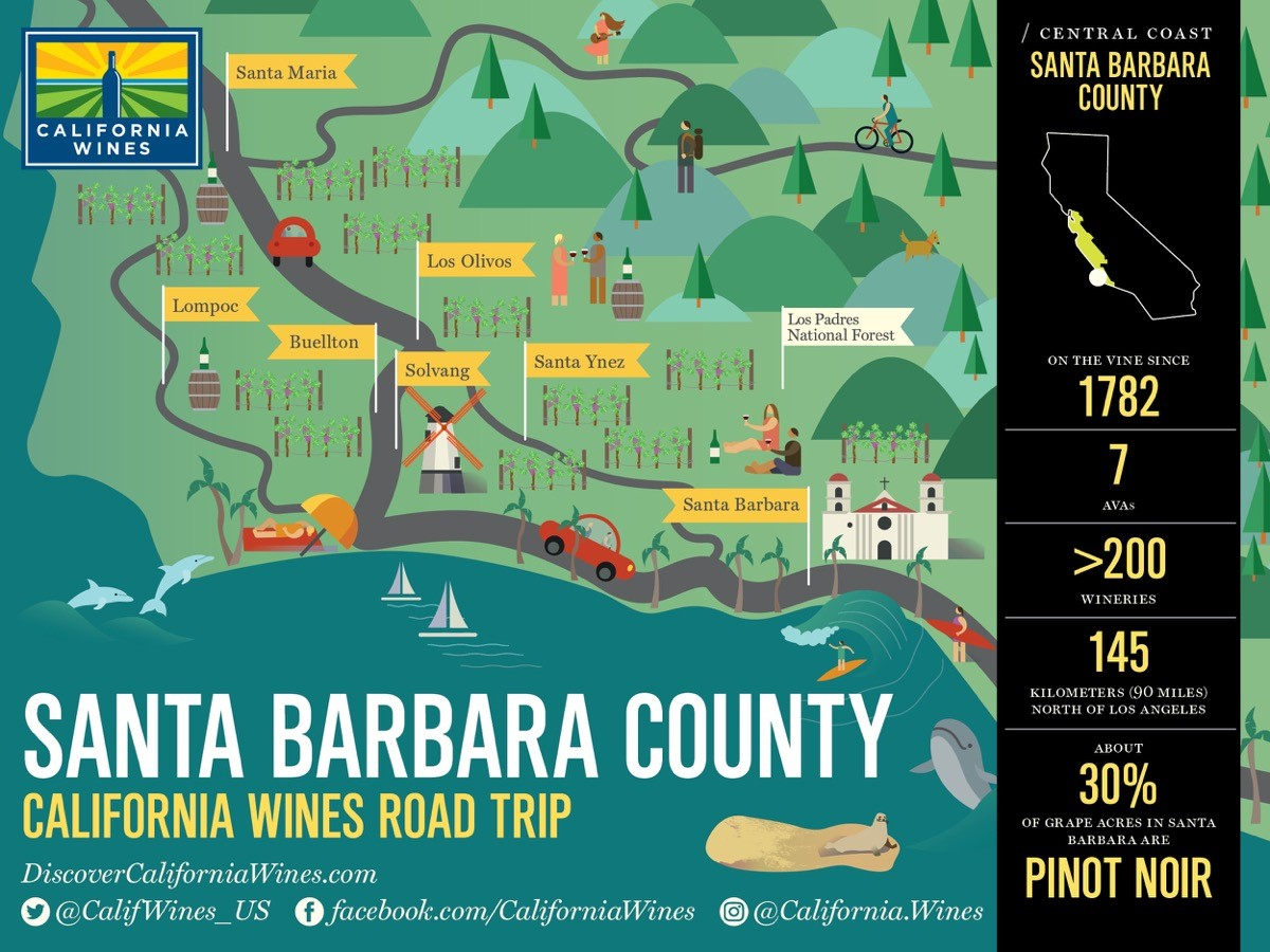 Explore Santa Barbara County On A California Wines Road Trip - The - California Wine Map Poster