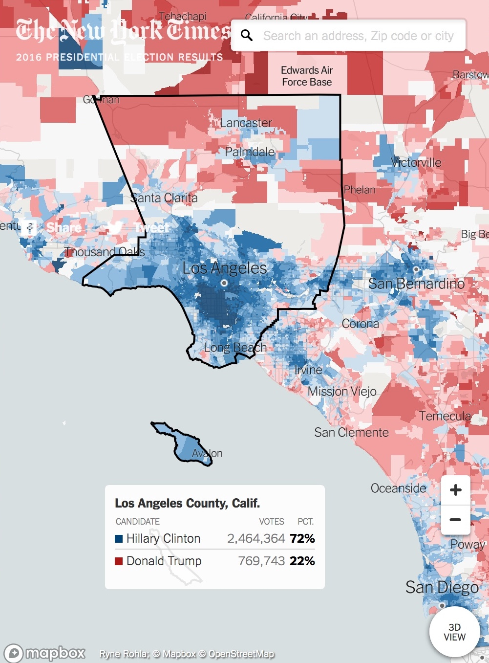 Extremely Detailed Interactive Map Of The 2016 Election From - California Voting Precinct Map