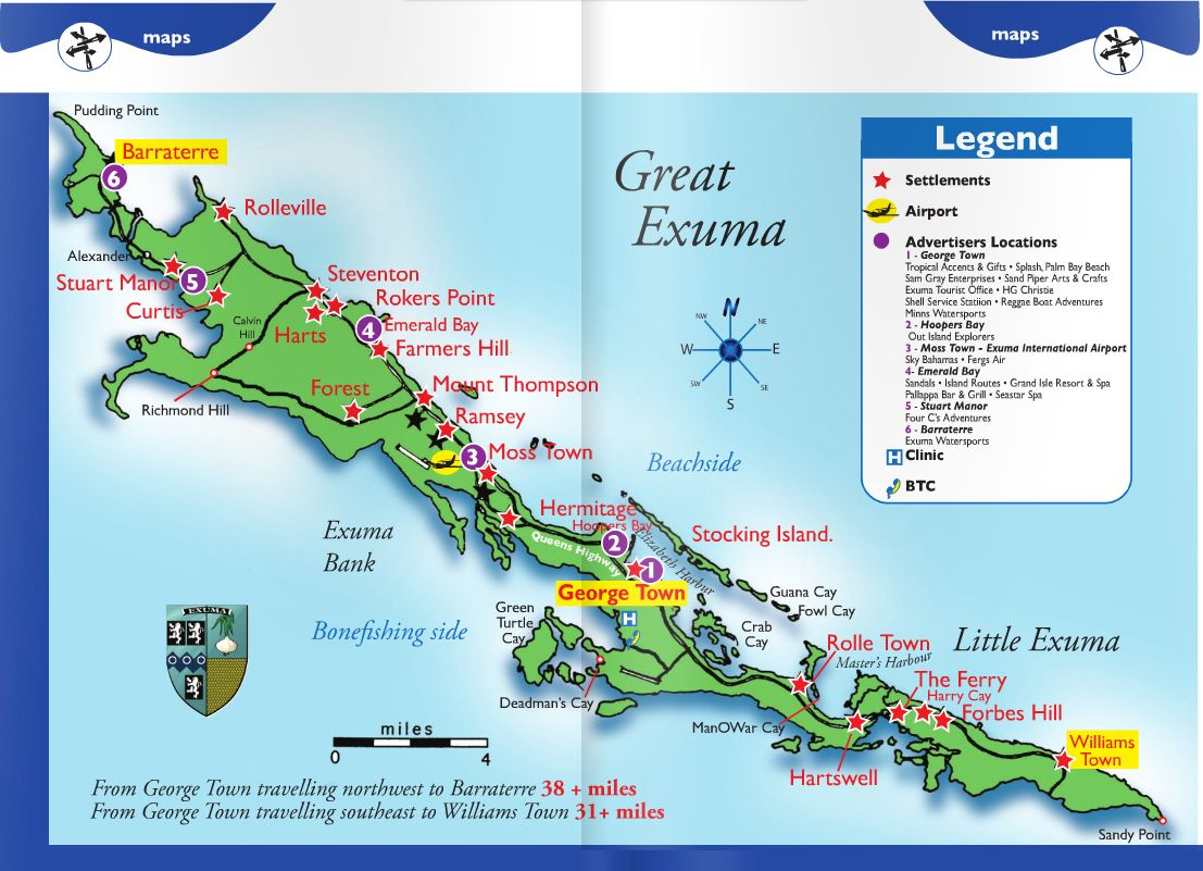 Exuma Island | Map Courtesy Of Exuma Visitors Guide | Exuma Island - Emerald Island Florida Map
