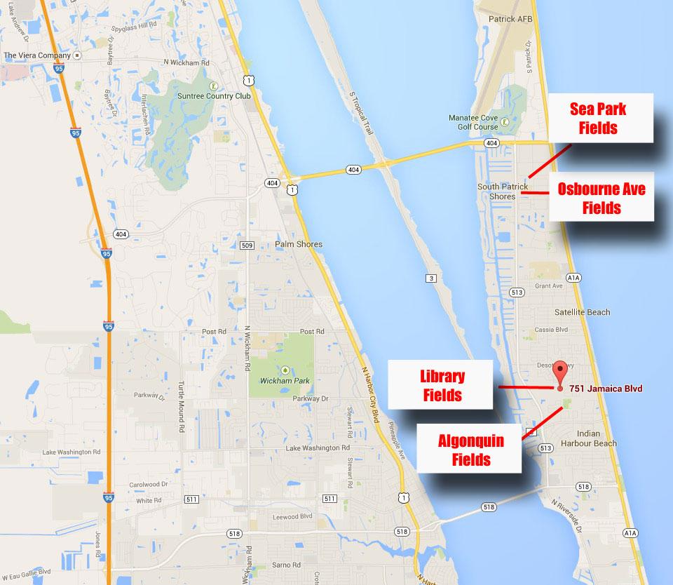 Facilities – Brevard Beachside Soccer Club - Indian Harbour Beach Florida Map