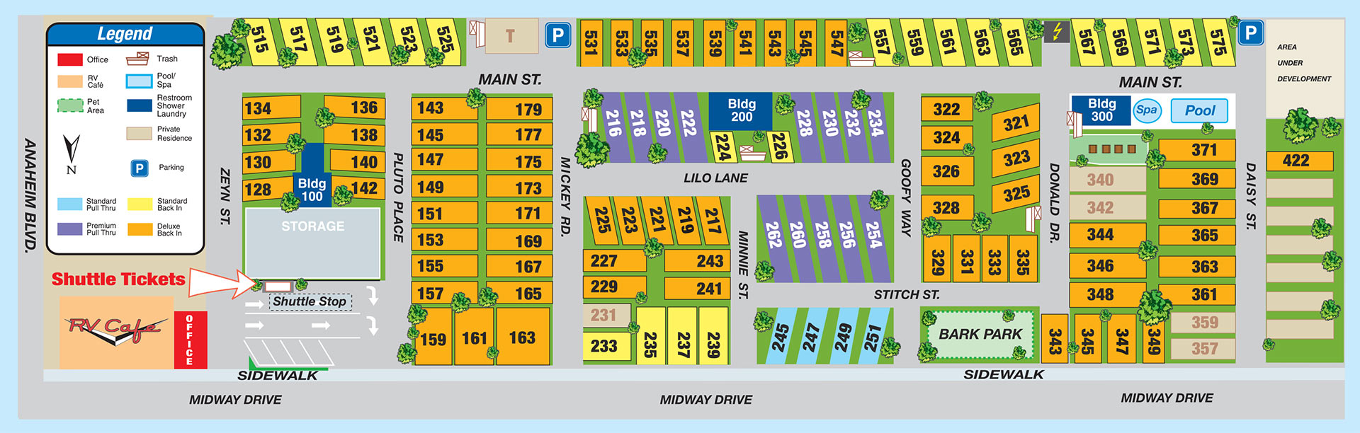 Facilities Map - Anaheim Rv Park, Facilities Map - Rv Parks California Map