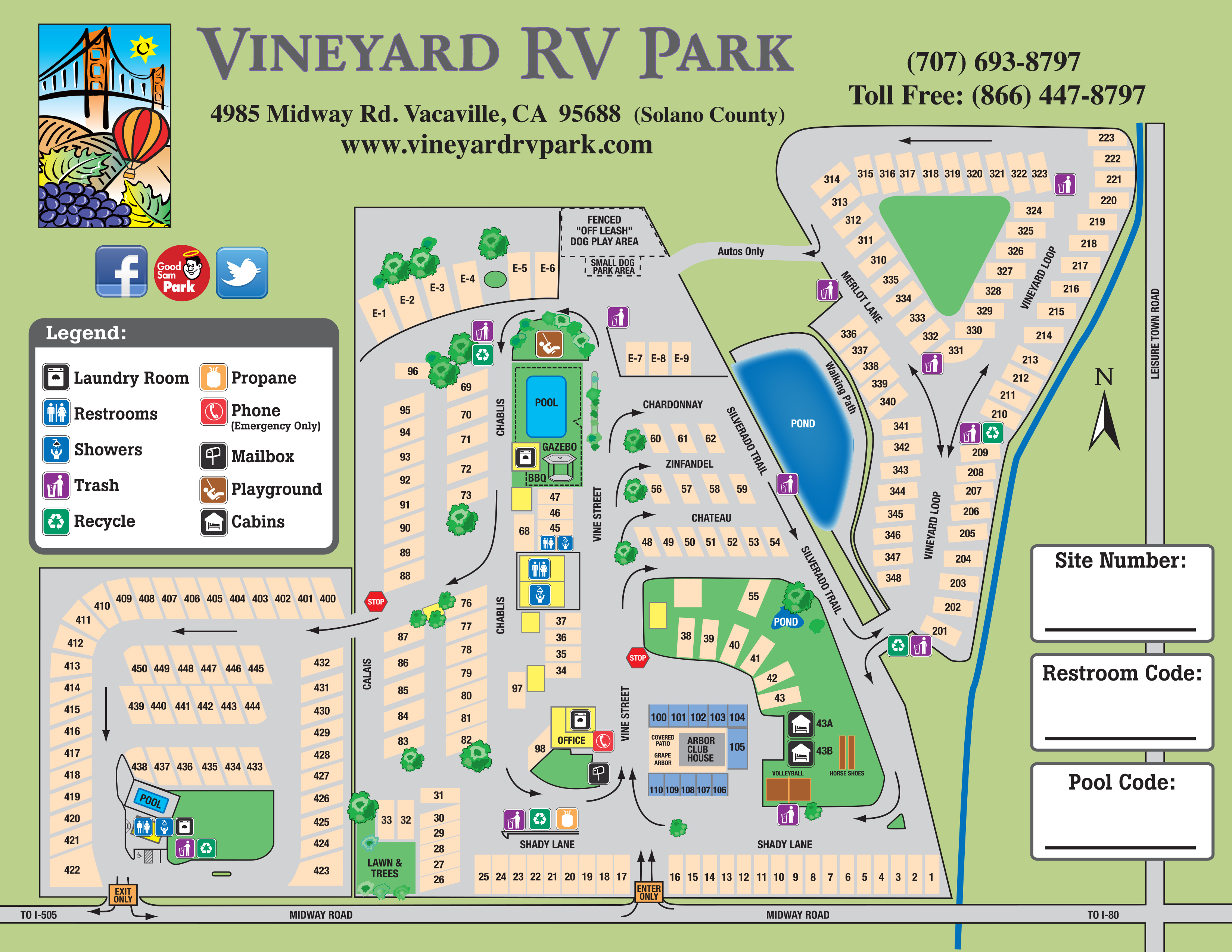Facility Map – Vineyard Rv Park - Rv Parks California Map