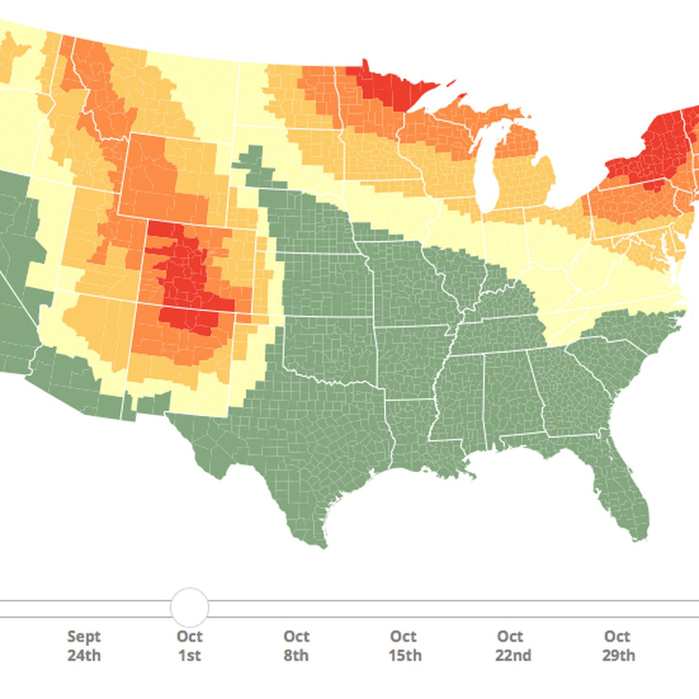 Fall Colors 2018 Map: When And Where Autumn Foliage Will Peak - Vox - California Fall Color Map