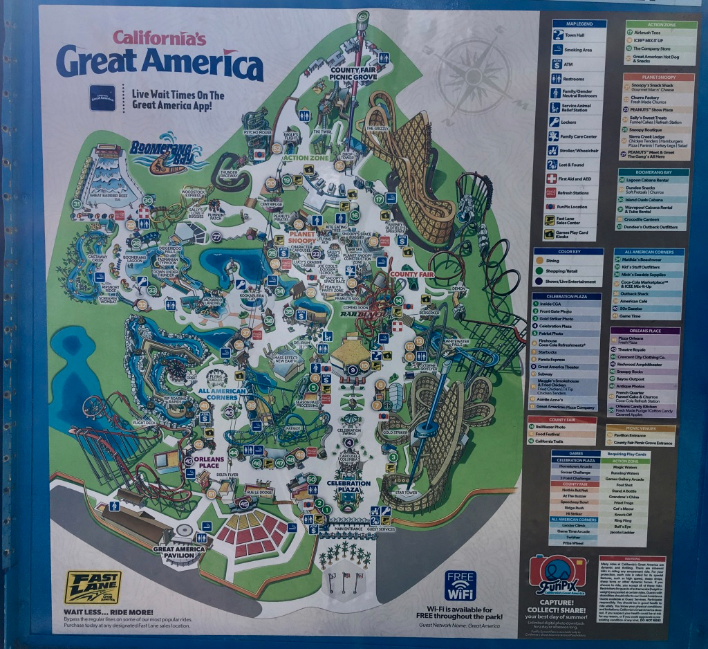 Family Guide To California's Great America (Santa Clara, California) - California's Great America Map 2018