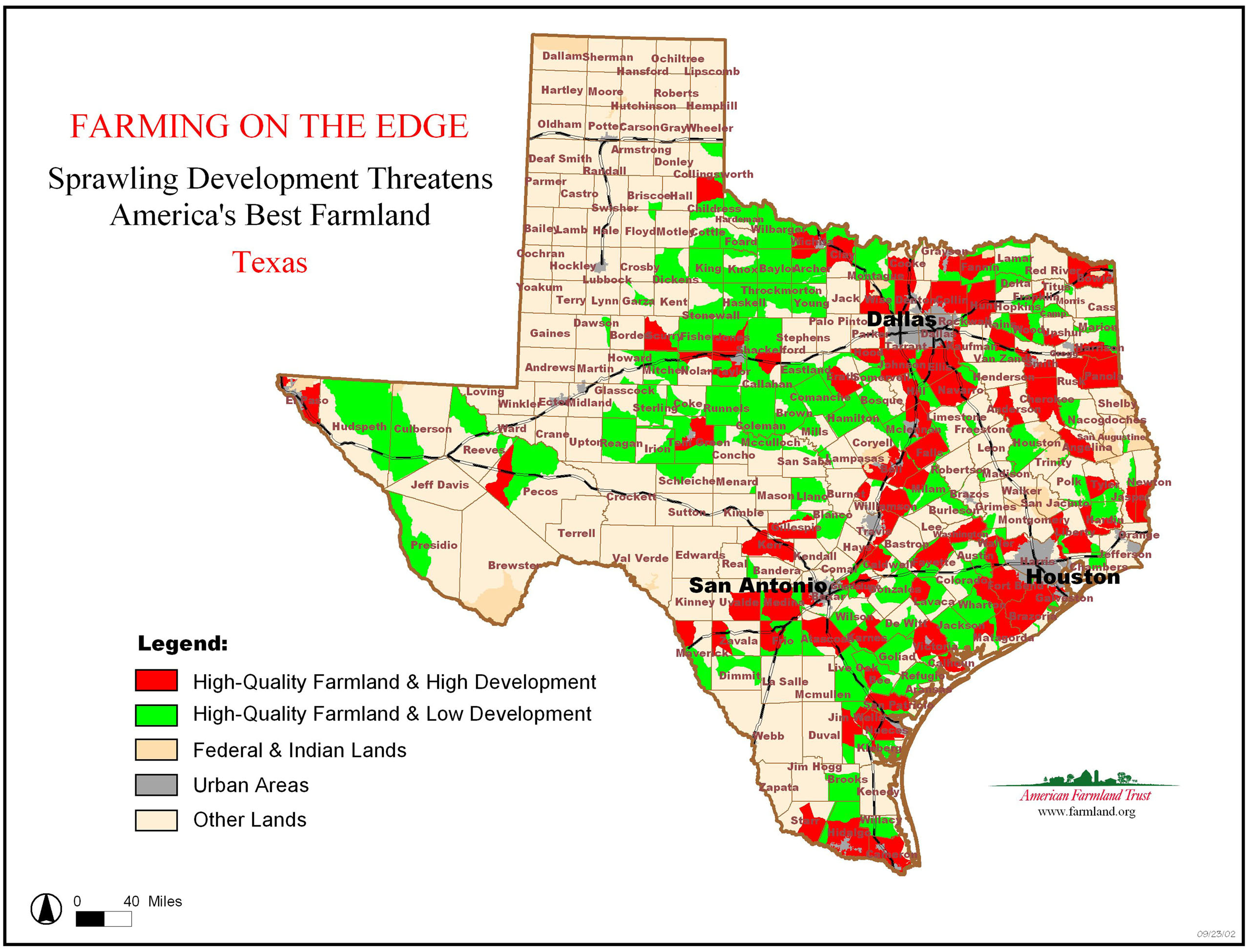 Farming On The Edge | American Farmland Trust - Texas Land Value Map