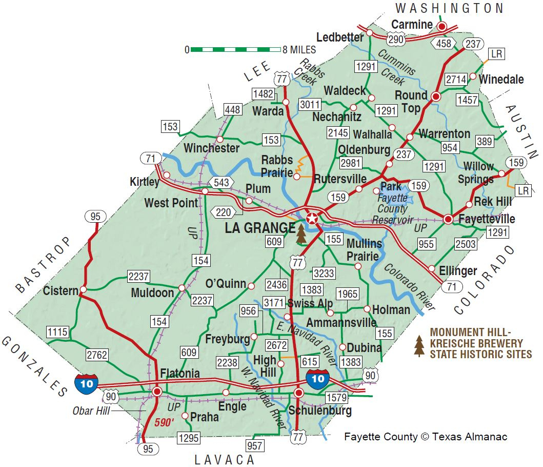 Fayette County | The Handbook Of Texas Online| Texas State - Lake Of The Pines Texas Map