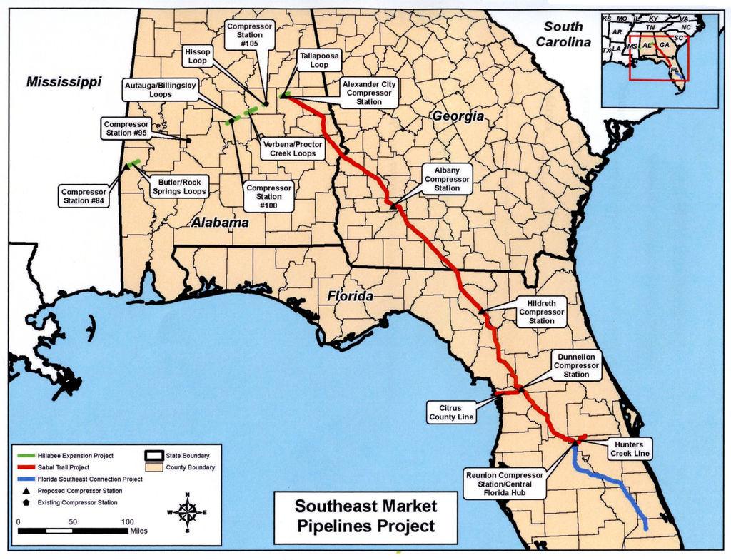 Ferc Gives Sabal Trail Final Ok To Build Pipeline | Local News - Duke Energy Transmission Lines Map Florida