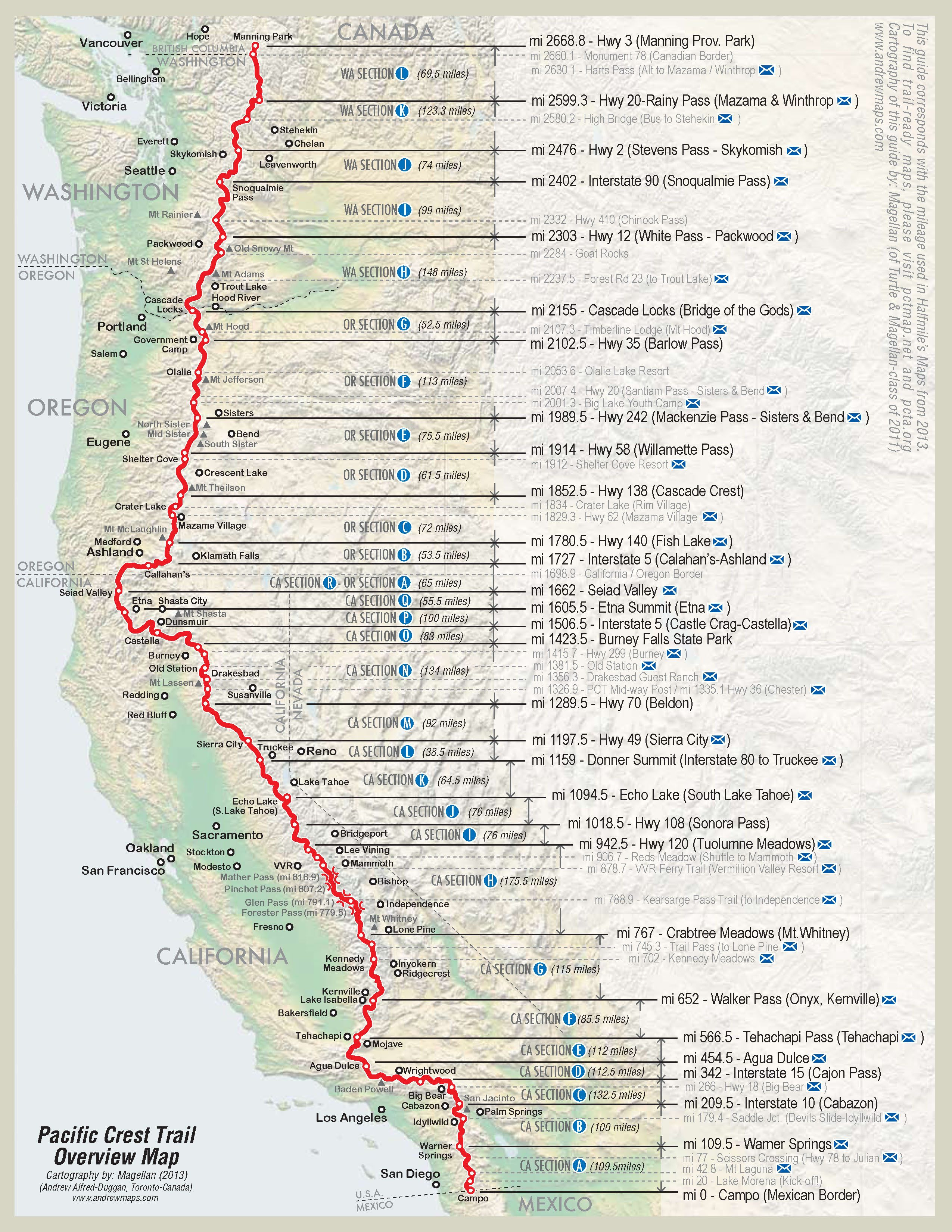 Ffafefdaab California Road Map Pacific Crest Trail Map California - Pct Map California