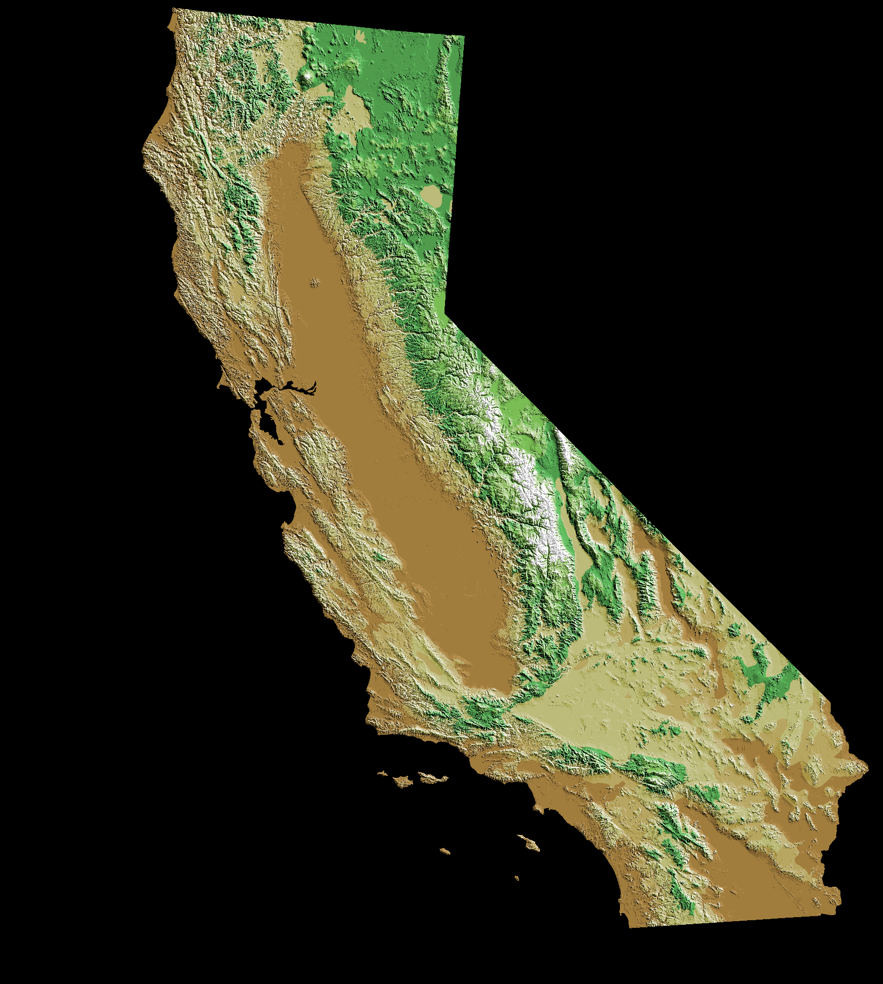 Fichier:digital-Elevation-Map-California — Wikipédia - California Elevation Map