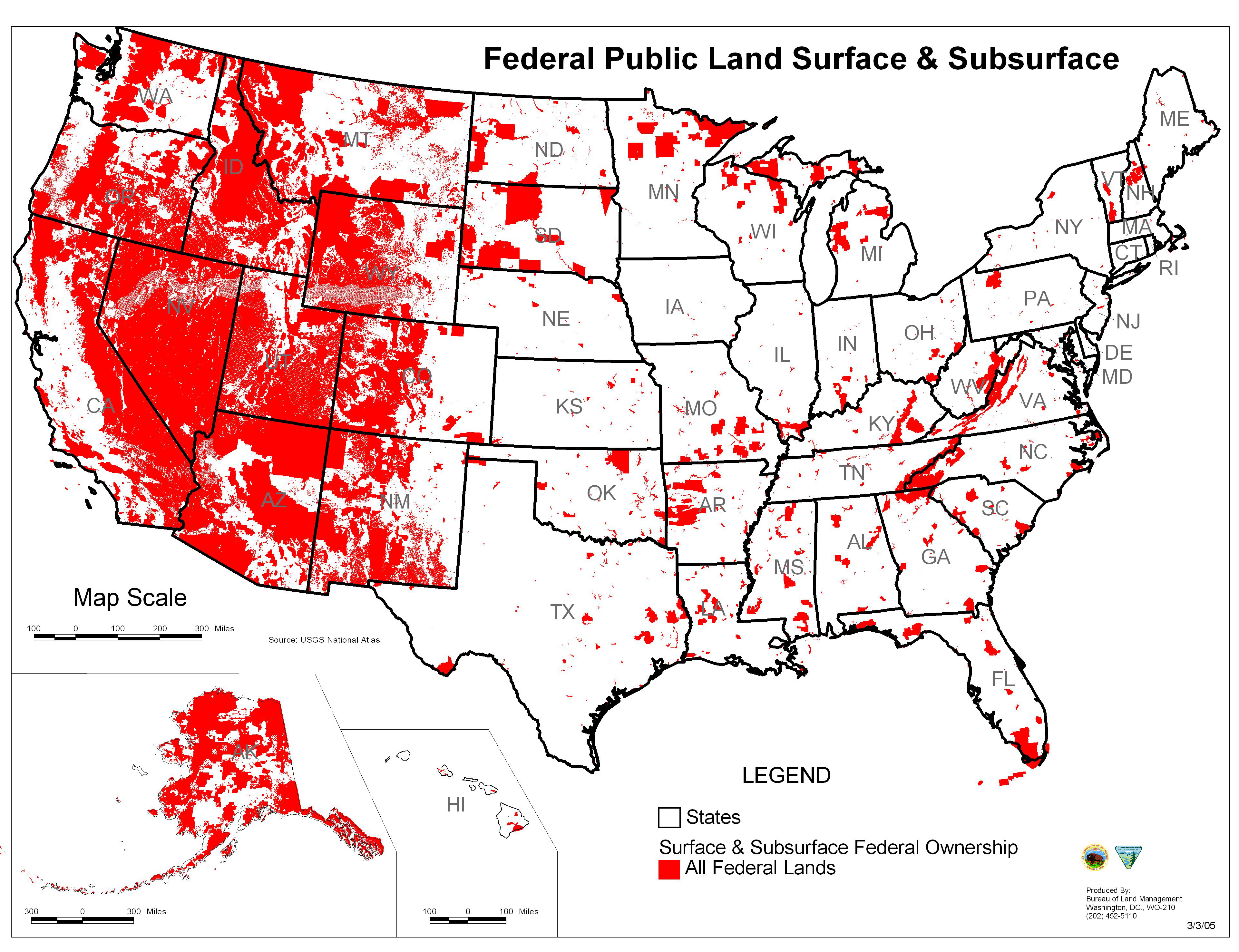 Fichier:map Of All U.s. Federal Land — Wikipédia - Texas Public Land Map