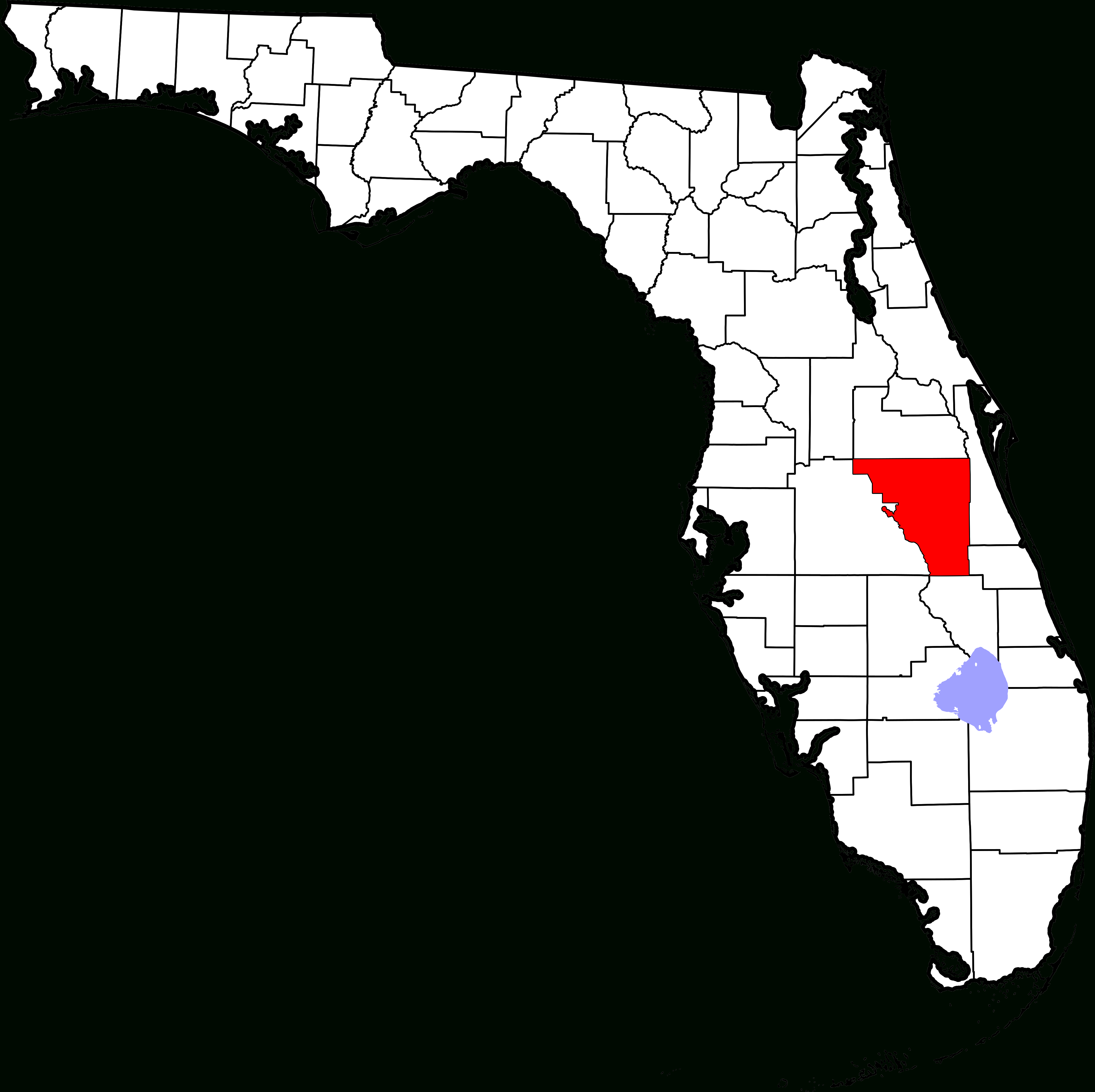 Fichier:map Of Florida Highlighting Osceola County.svg — Wikipédia - Yeehaw Junction Florida Map
