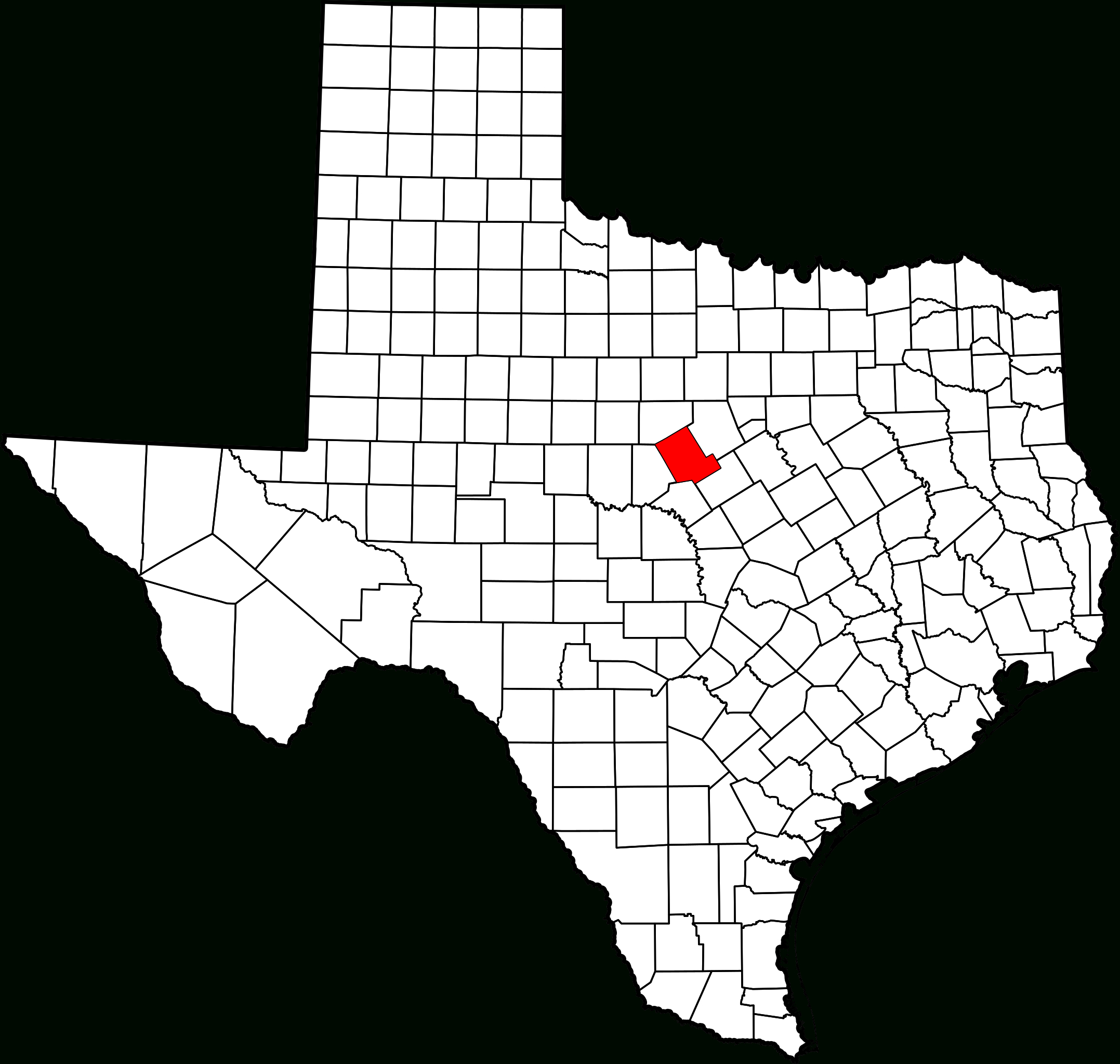 Fichier:map Of Texas Highlighting Comanche County.svg — Wikipédia - Comanche County Texas Map