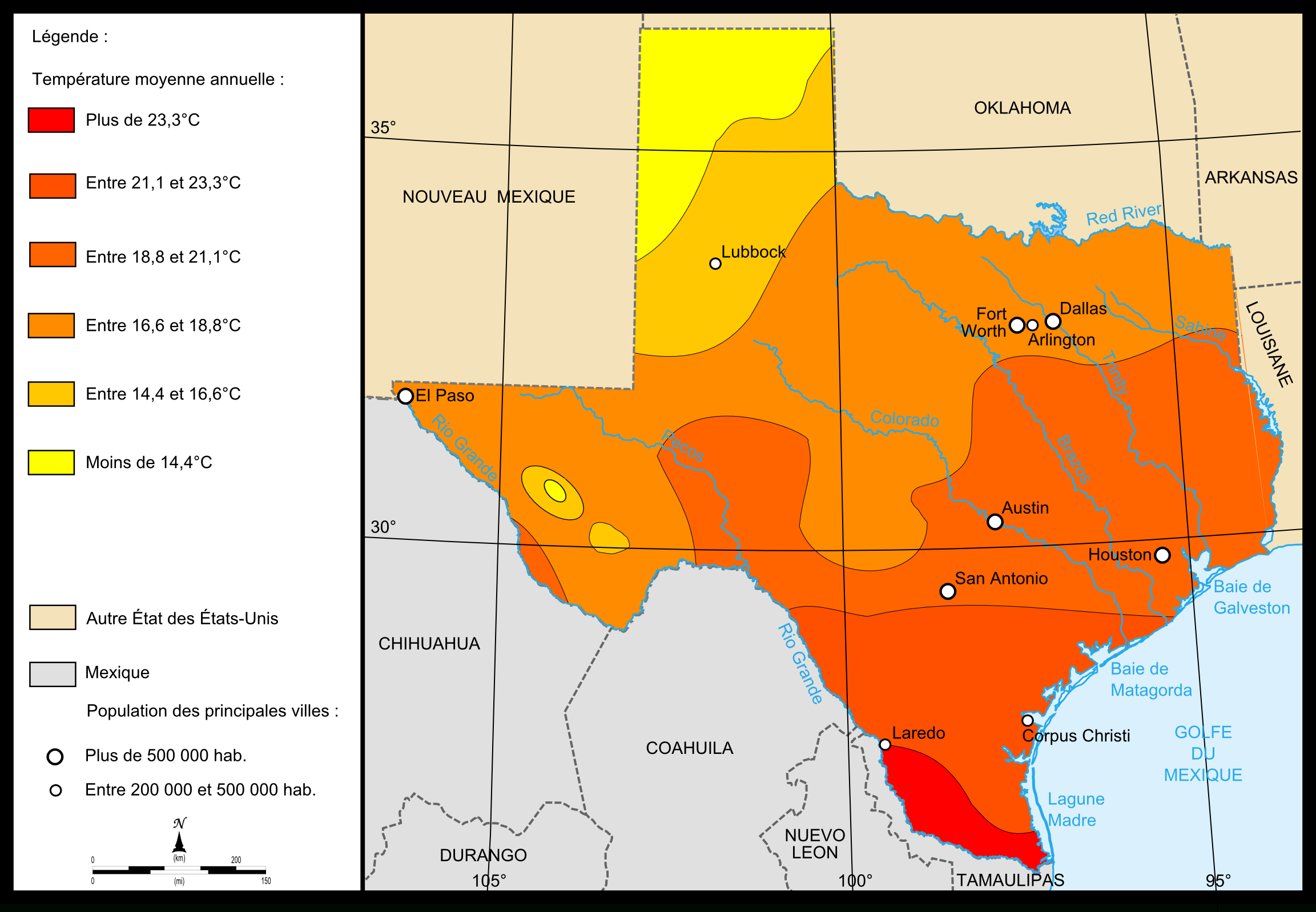 Fichier:map Of Texas Temperatures — Wikipédia - Texas Temperature Map