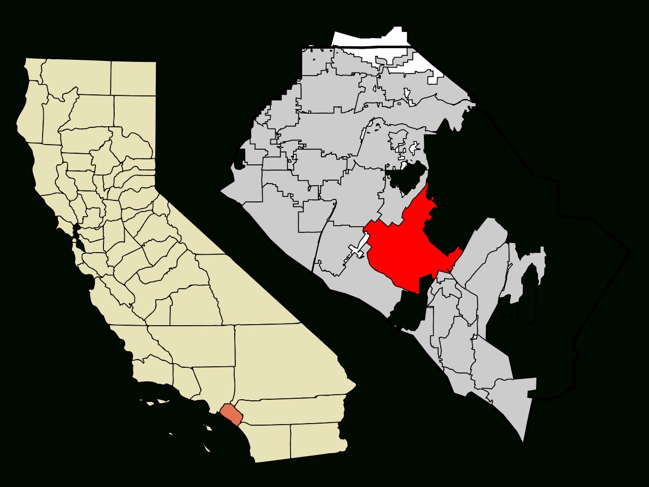 Fichier:orange County California Incorporated And Unincorporated - Irvine California Map