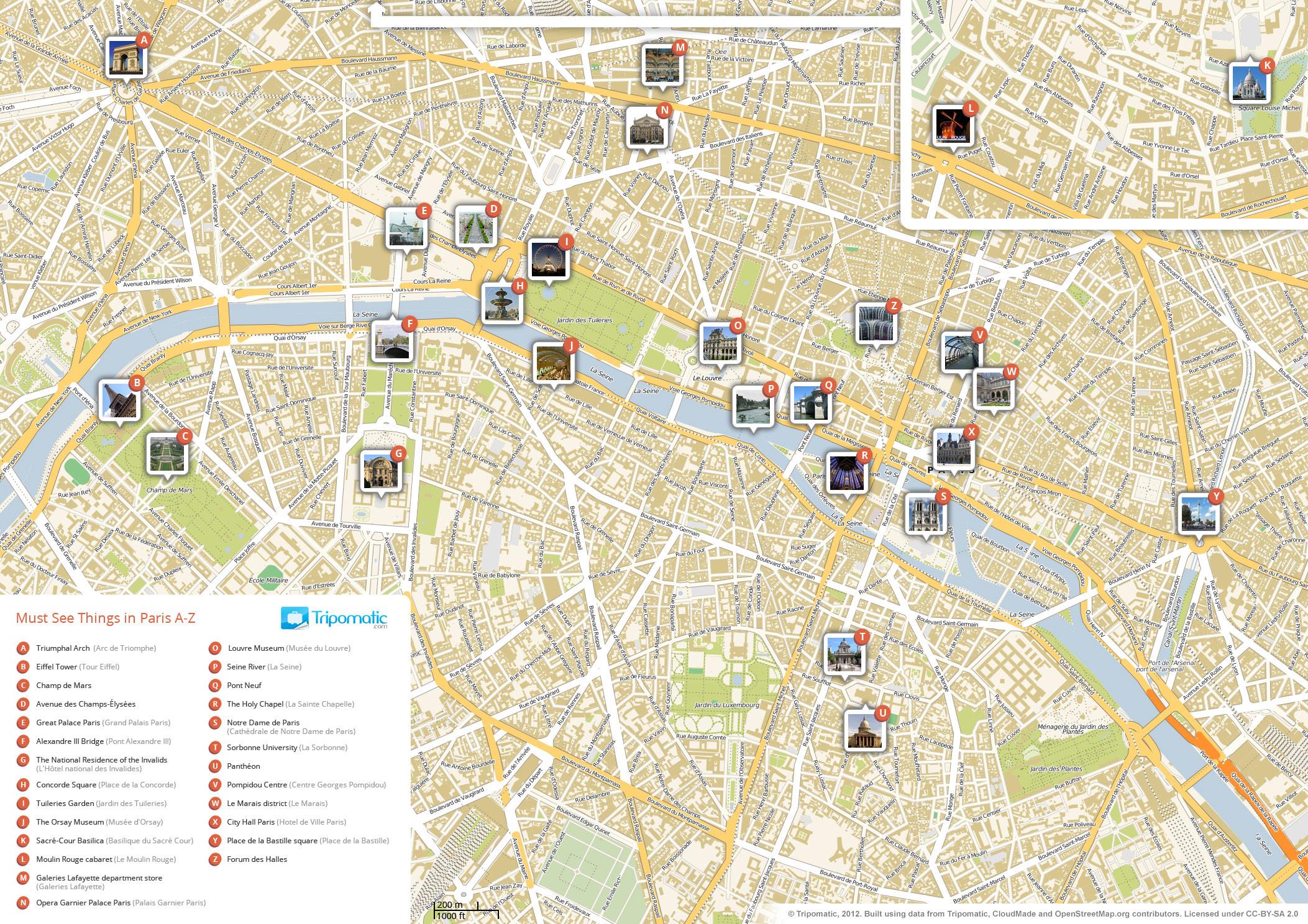 Fichier:paris Printable Tourist Attractions Map — Wikipédia - Printable Map Of Paris