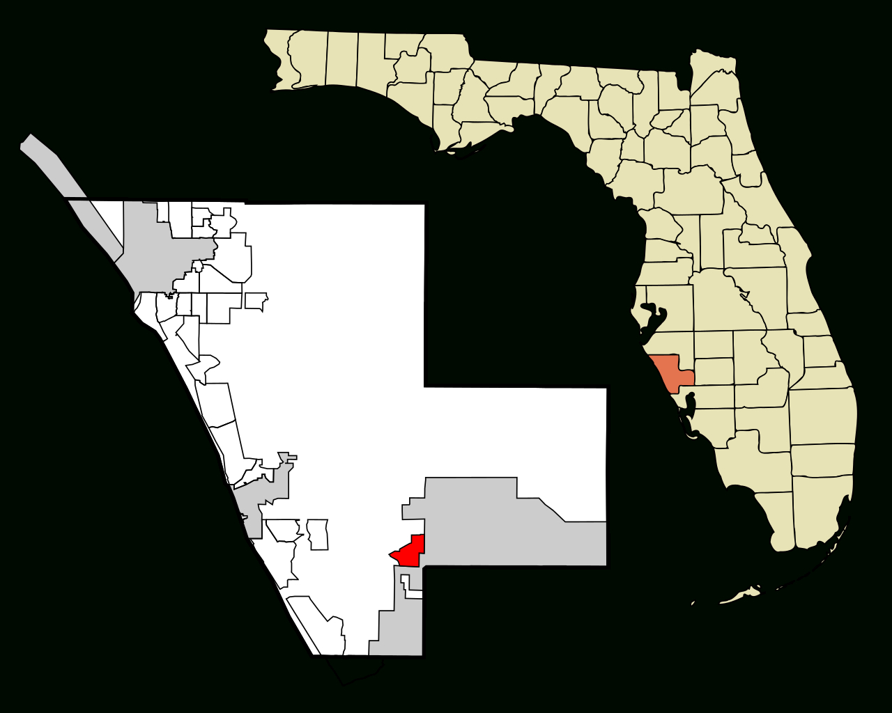 Fichier:sarasota County Florida Incorporated And Unincorporated - Warm Mineral Springs Florida Map