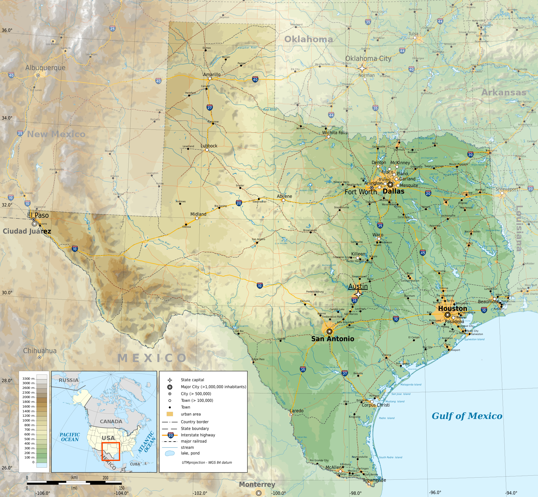 Fichier:texas Topographic Map-En.svg — Wikipédia - Texas Elevation Map
