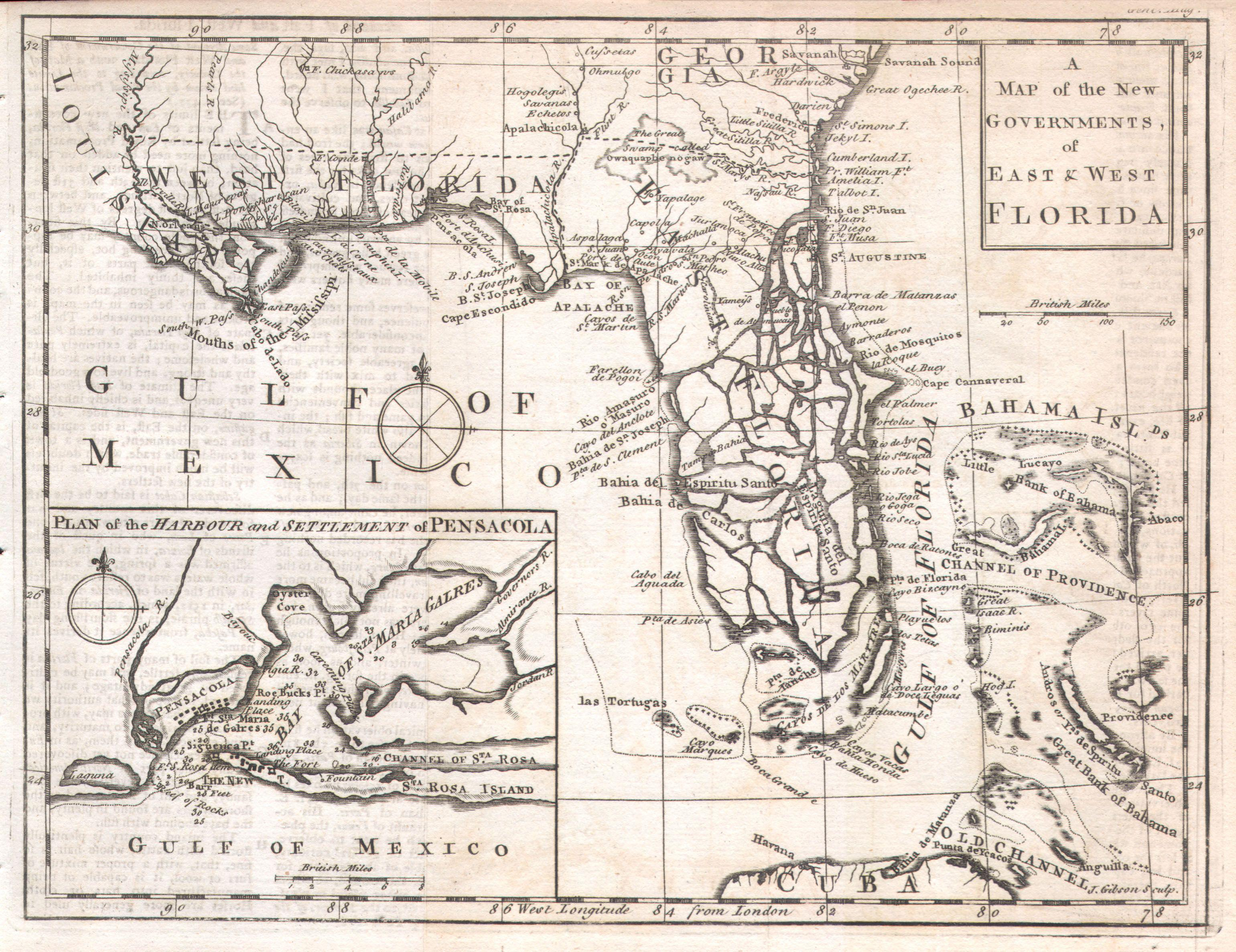 File:1763 Gibson Map Of East And West Florida - Geographicus - Old Maps Of Pensacola Florida