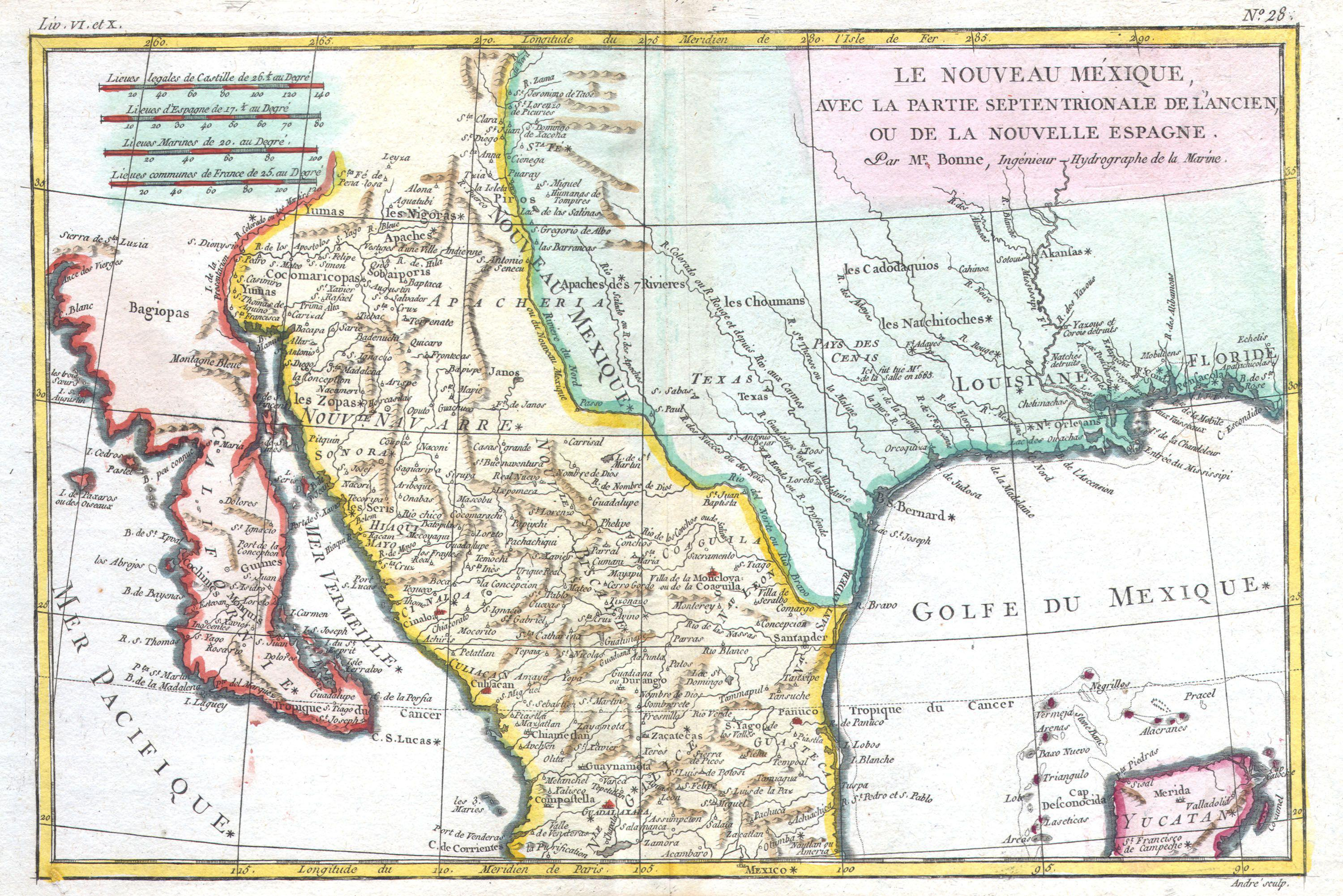 File:1780 Bonne Map Of Texas, Louisiana ^ New Mexico - Geographicus - Map Of New Mexico And Texas