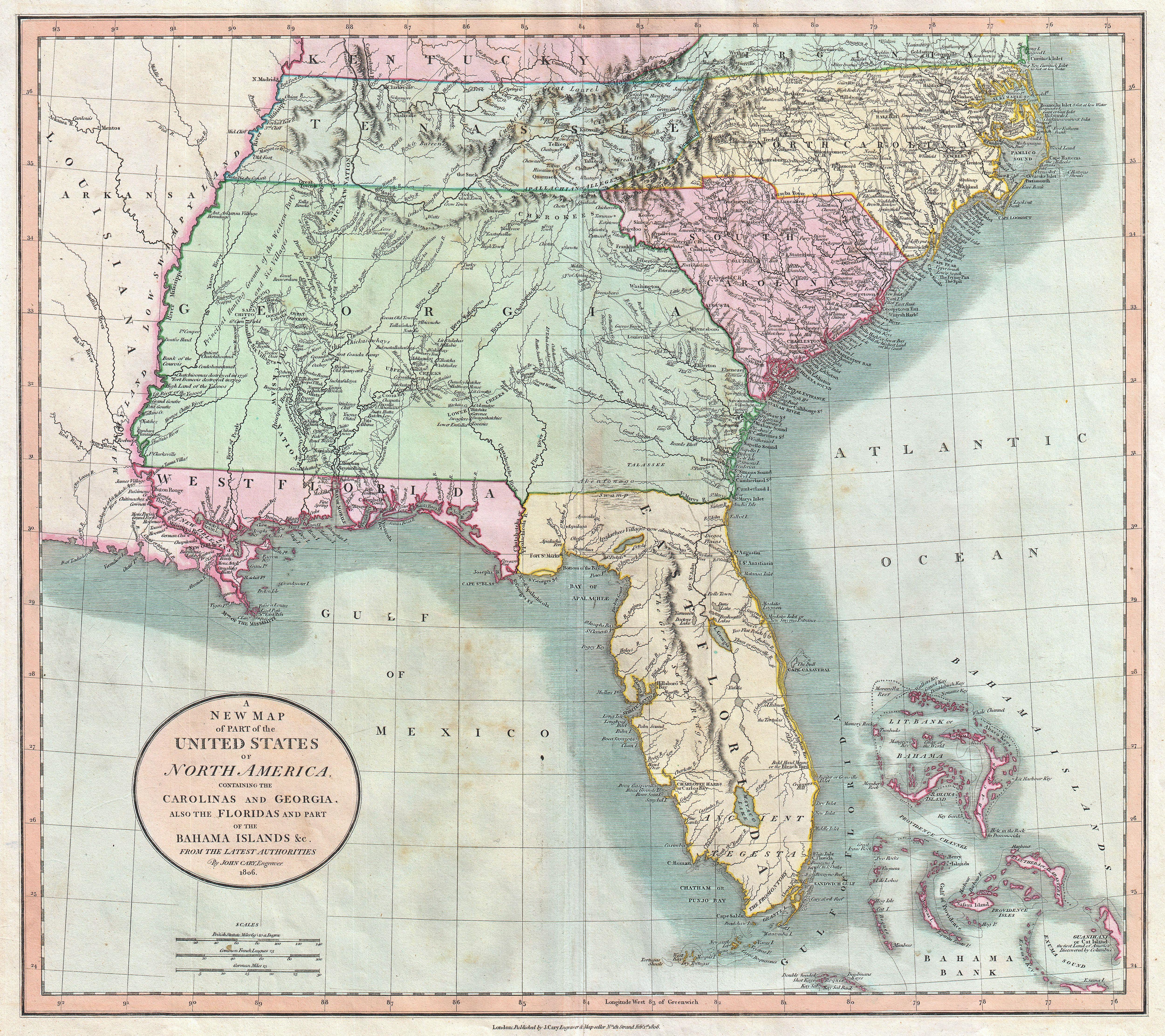 File:1806 Cary Map Of Florida, Georgia, North Carolina, South - Map Of Georgia And Florida