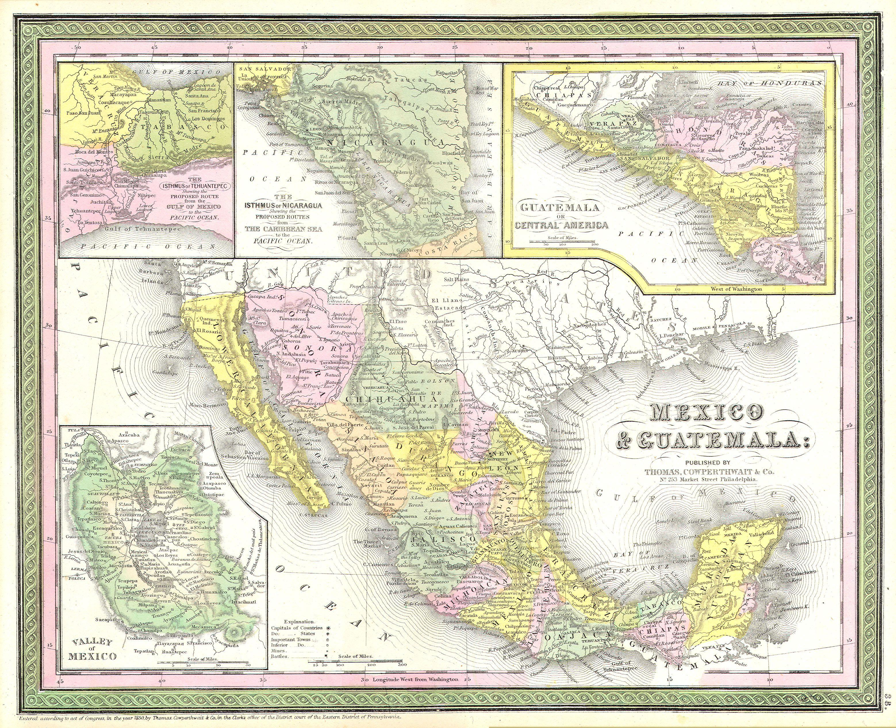 File:1850 Mitchell Map Of Mexico ^ Texas - Geographicus - Texas Map 1850