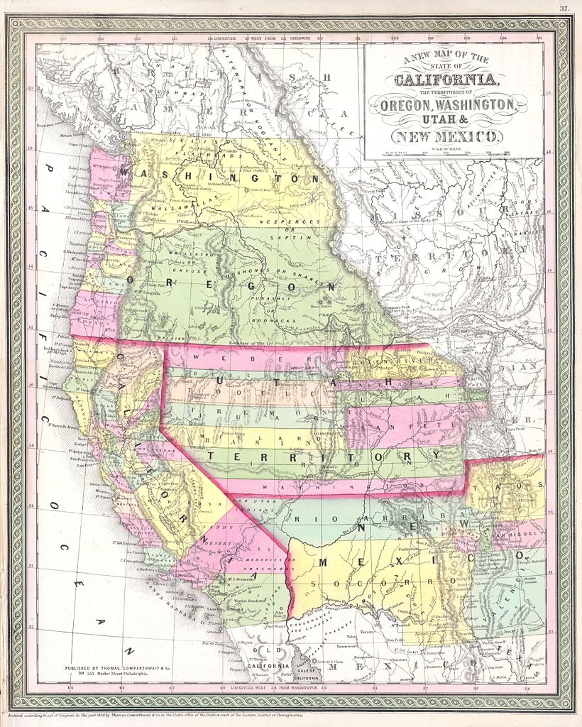 File:1853 Mitchell Map Of California, Oregon, Washington, Utah ^ New - Oregon California Map