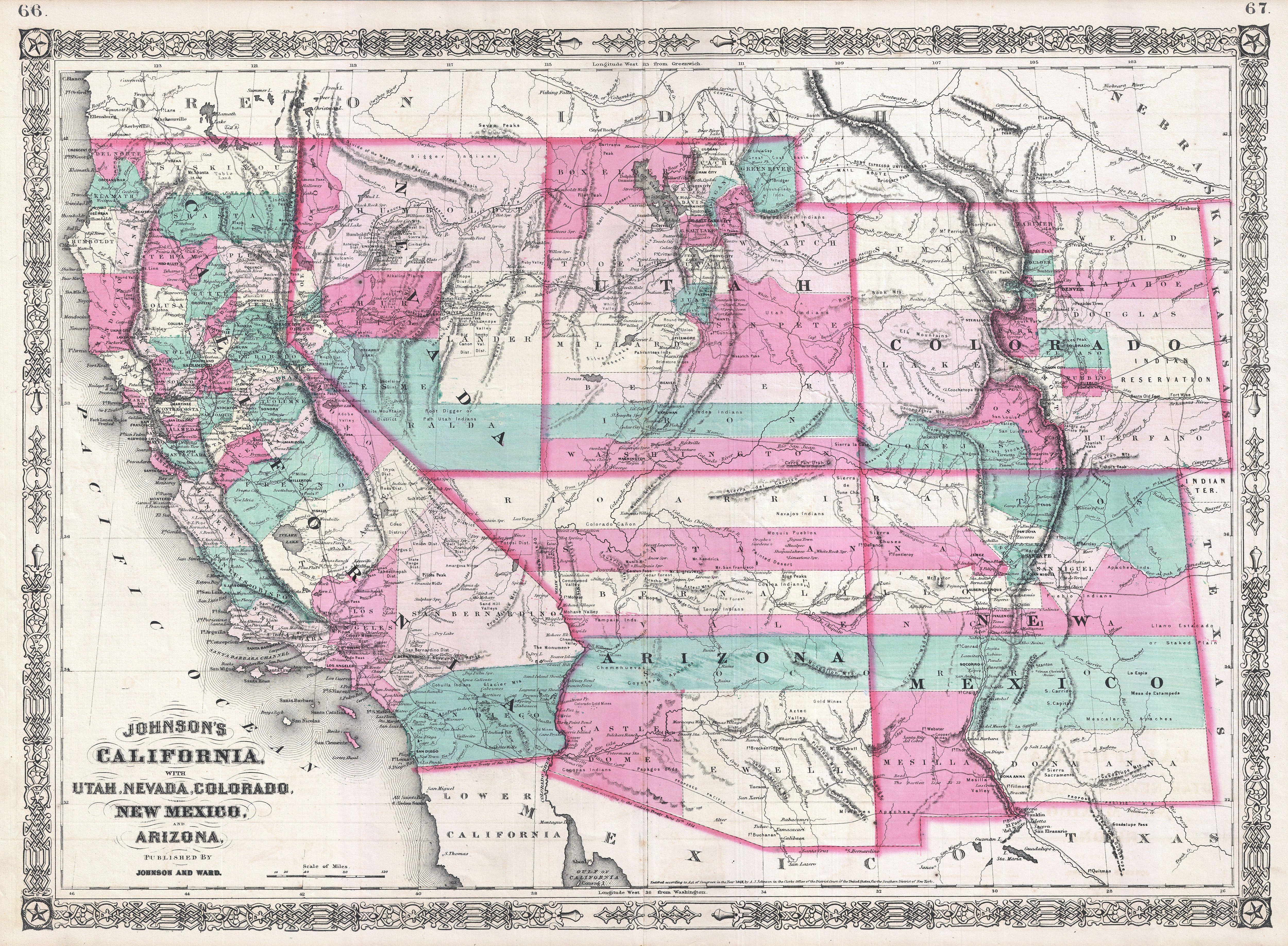 File:1866 Johnson Map Of California, Colorado, Arizona, New Mexico - California Nevada Arizona Map