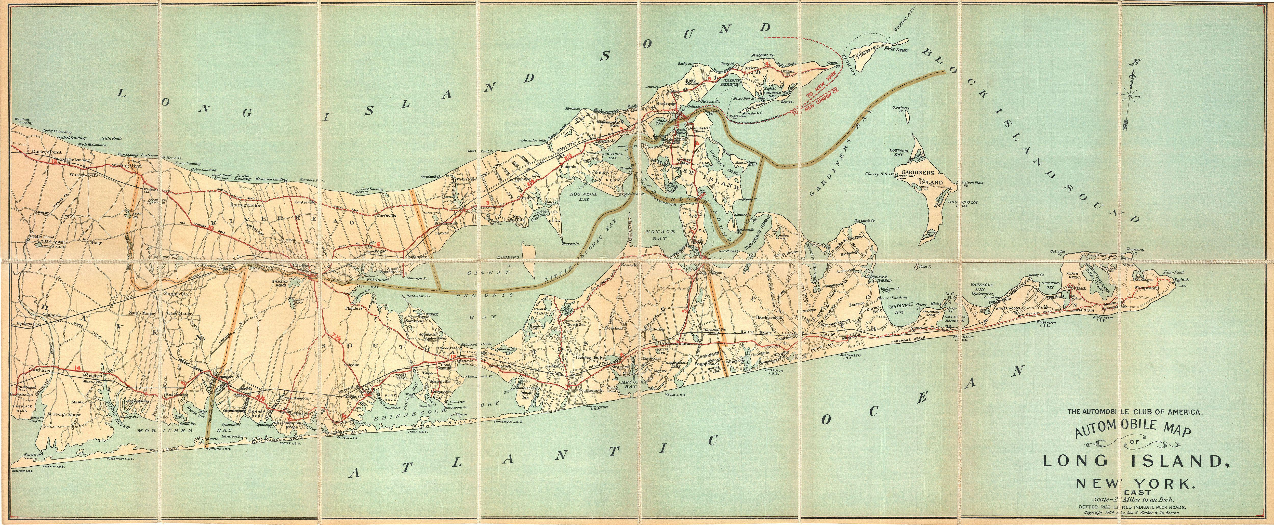 File:1905 Automobile Club Map Of Suffolk County, Long Island - Printable Map Of Suffolk County Ny