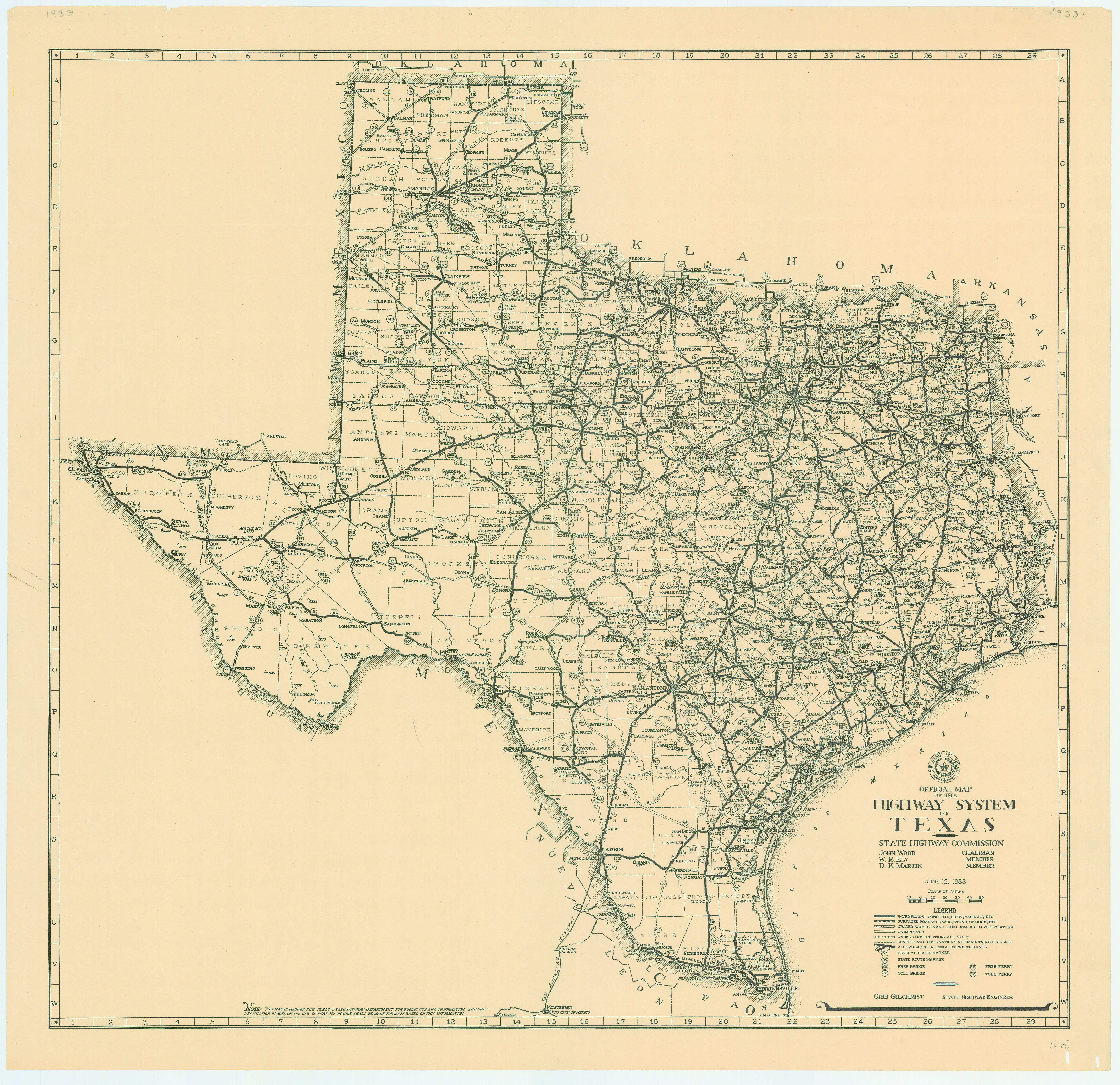 File:1933 Texas State Highway Map - Wikimedia Commons - Old Texas Map