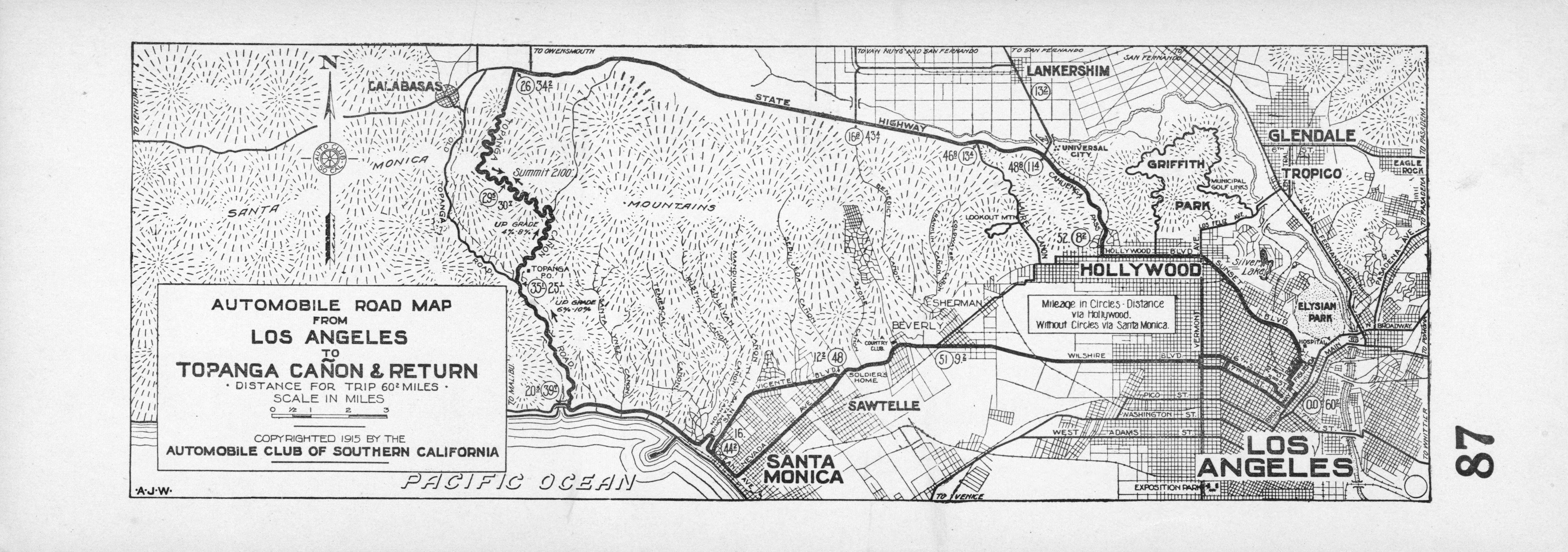 File:automobile Road Map From Los Angeles To Topanga Canon And - Aaa California Map