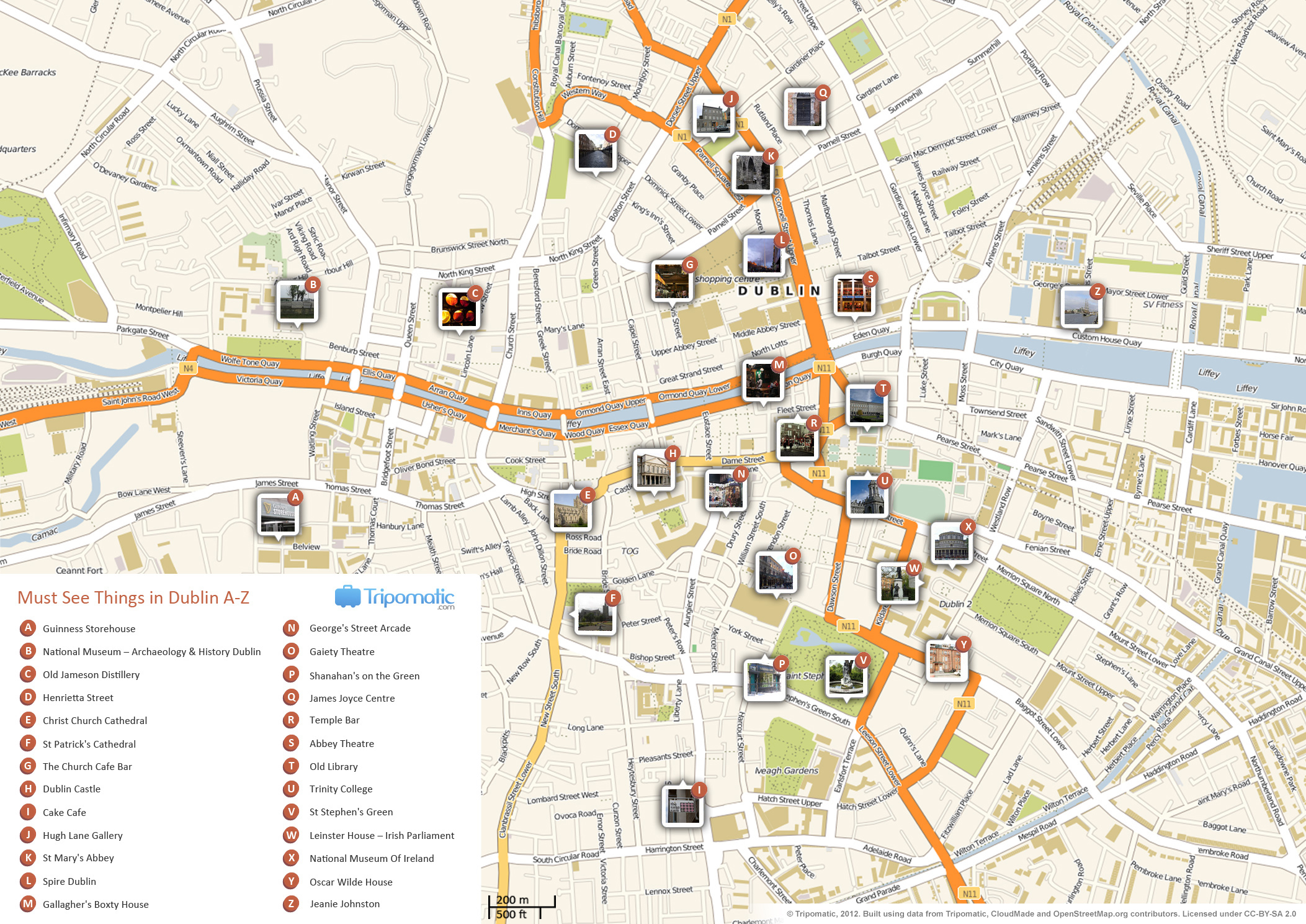 File:dublin Printable Tourist Attractions Map - Wikimedia Commons - Dublin City Map Printable