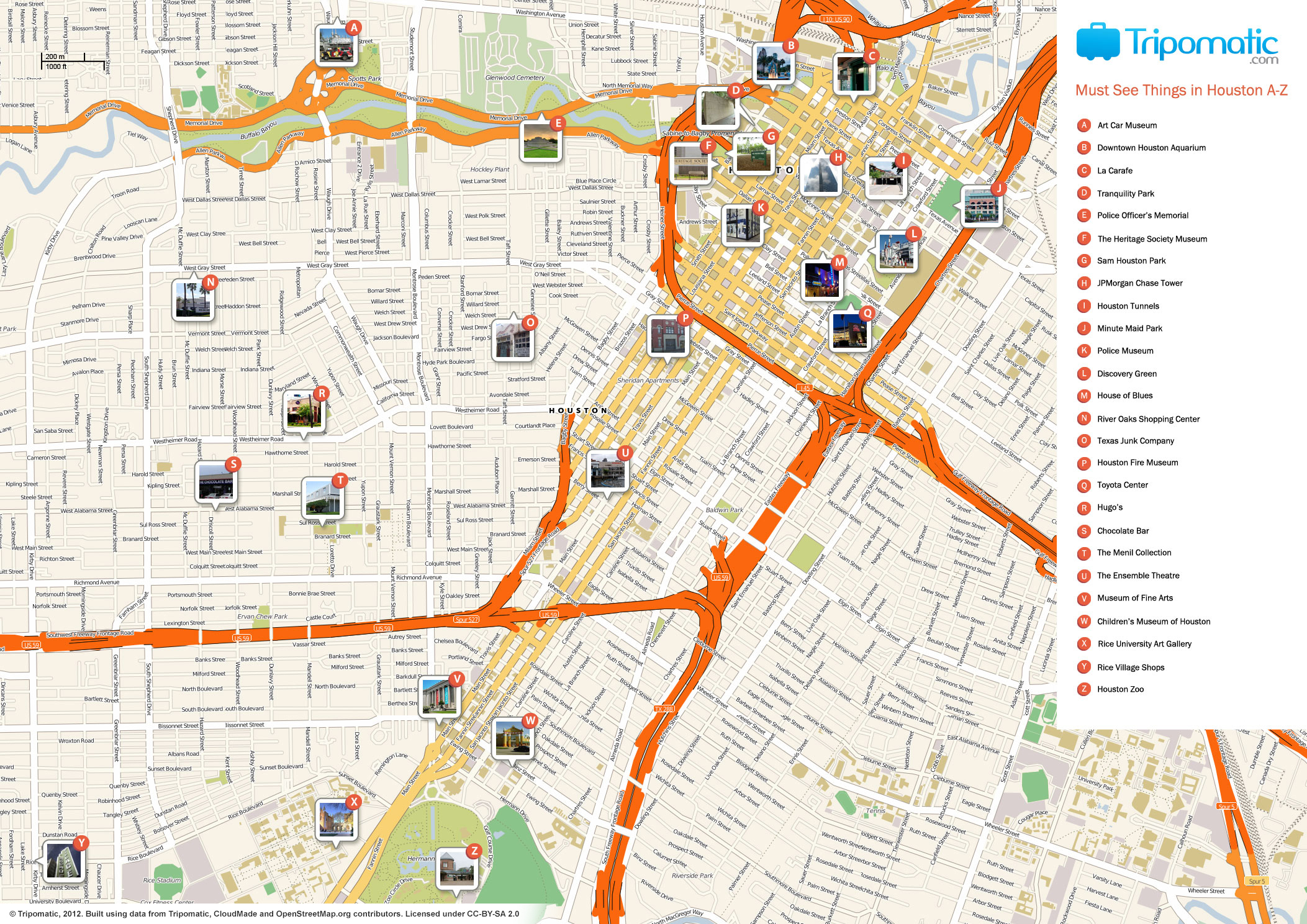 File:houston Printable Tourist Attractions Map - Wikimedia Commons - Printable Map Of Houston