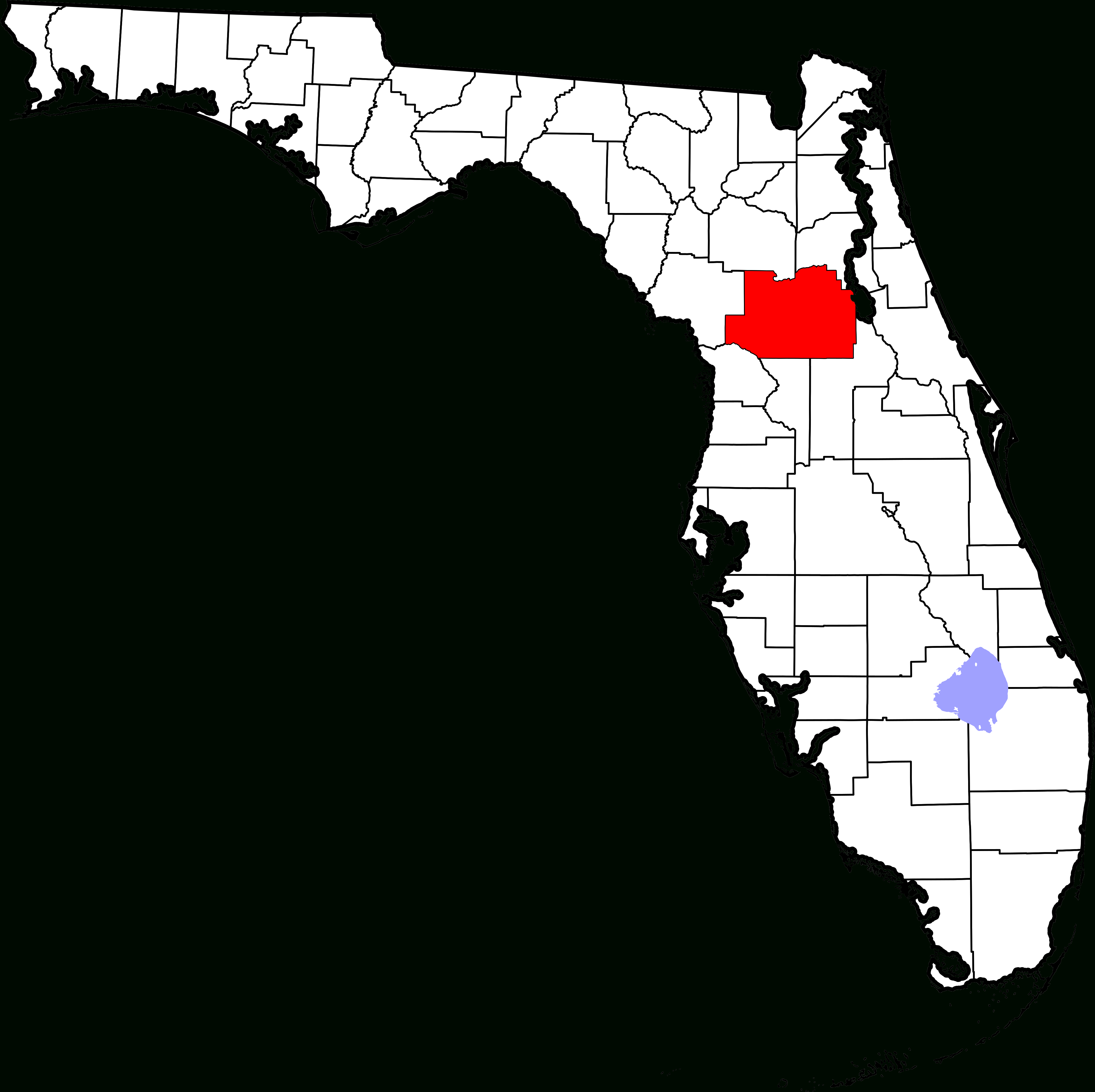 File:map Of Florida Highlighting Marion County.svg - Wikipedia - Where Is Ocala Florida On A Map