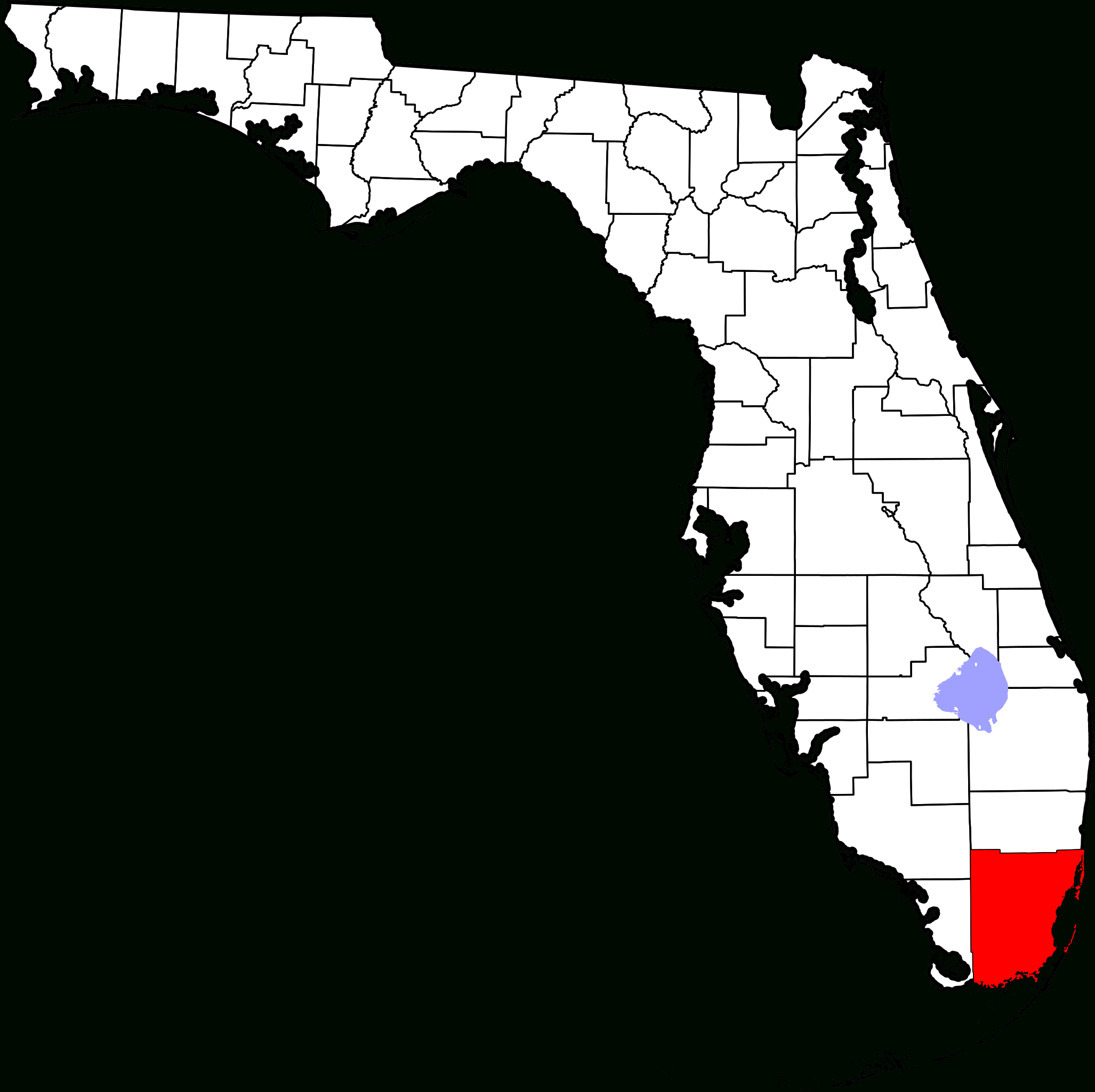 File:map Of Florida Highlighting Miami-Dade County.svg - Wikipedia - Map Of Florida Showing Dade City