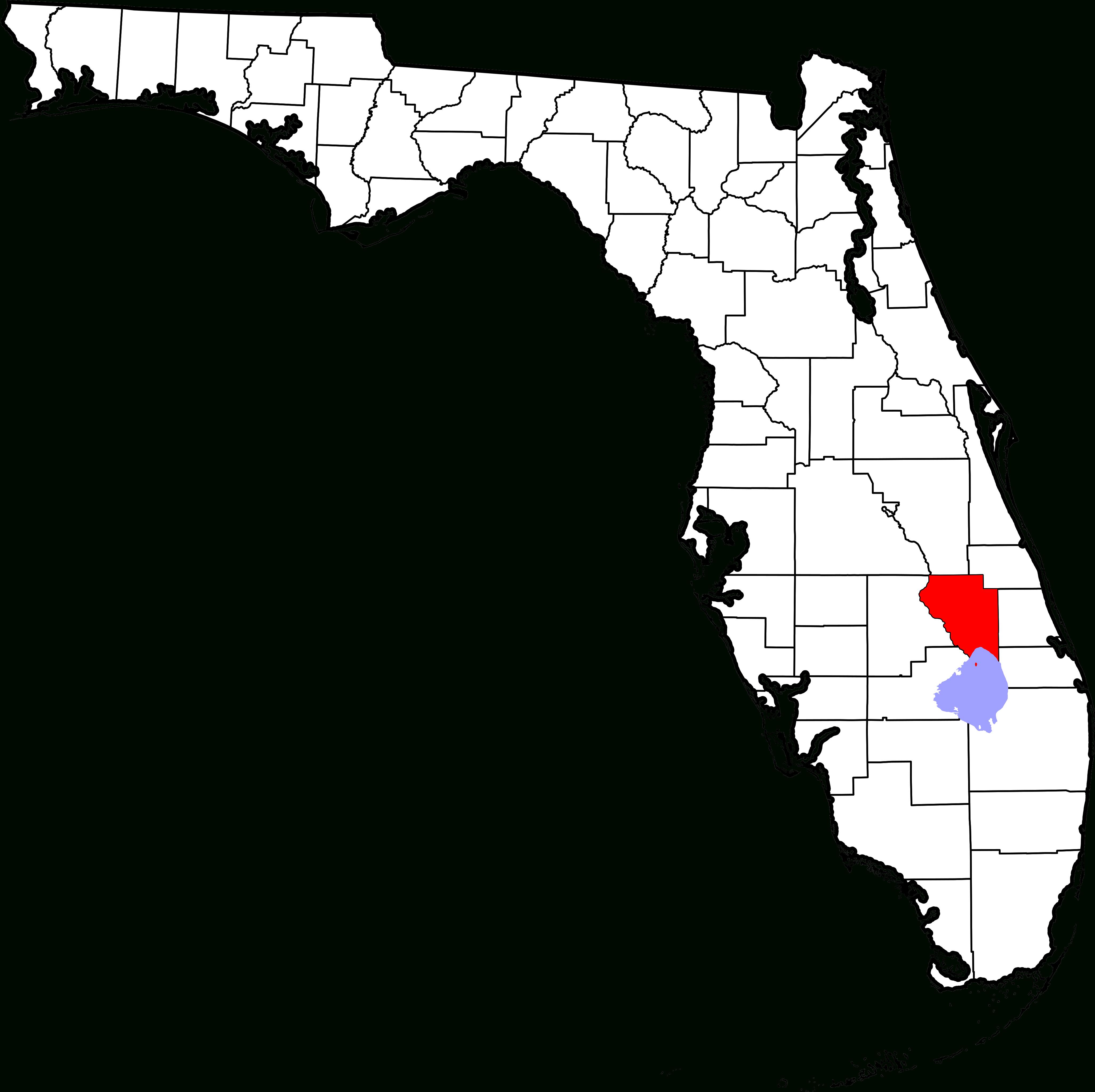 File:map Of Florida Highlighting Okeechobee County.svg - Wikimedia - Lake Okeechobee Florida Map