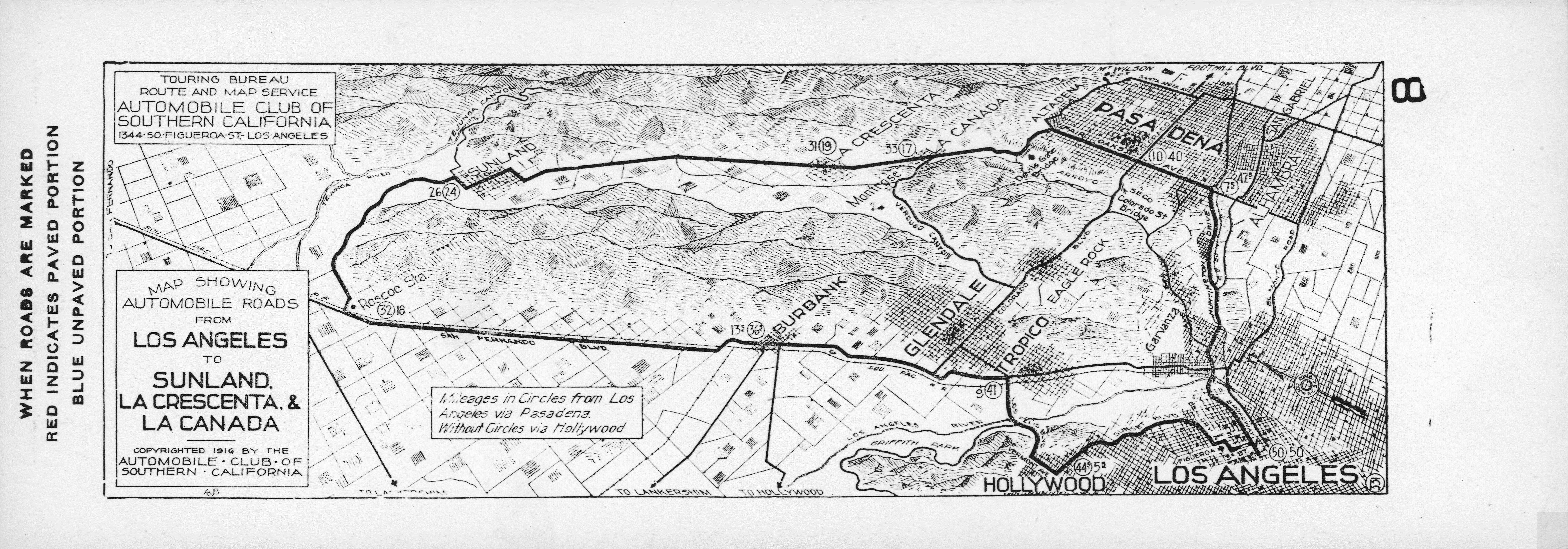 File:map Showing Automobile Roads From Los Angeles To Sunland, La - Aaa California Map