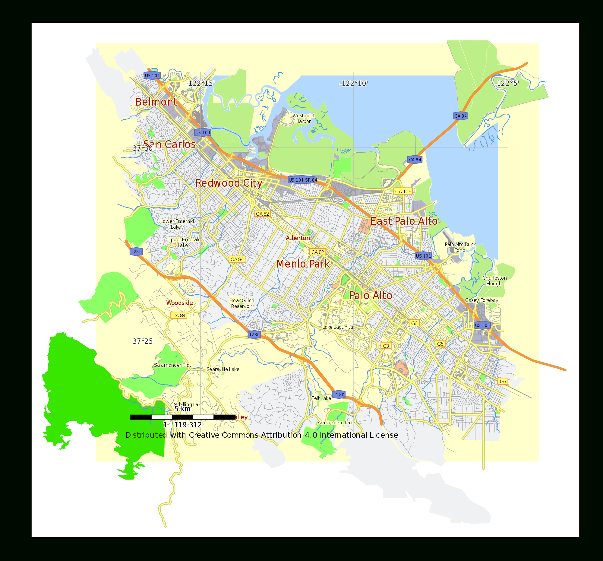 File:menlo Park Street Map Plan California Usa.svg - Wikimedia Commons - California Street Map