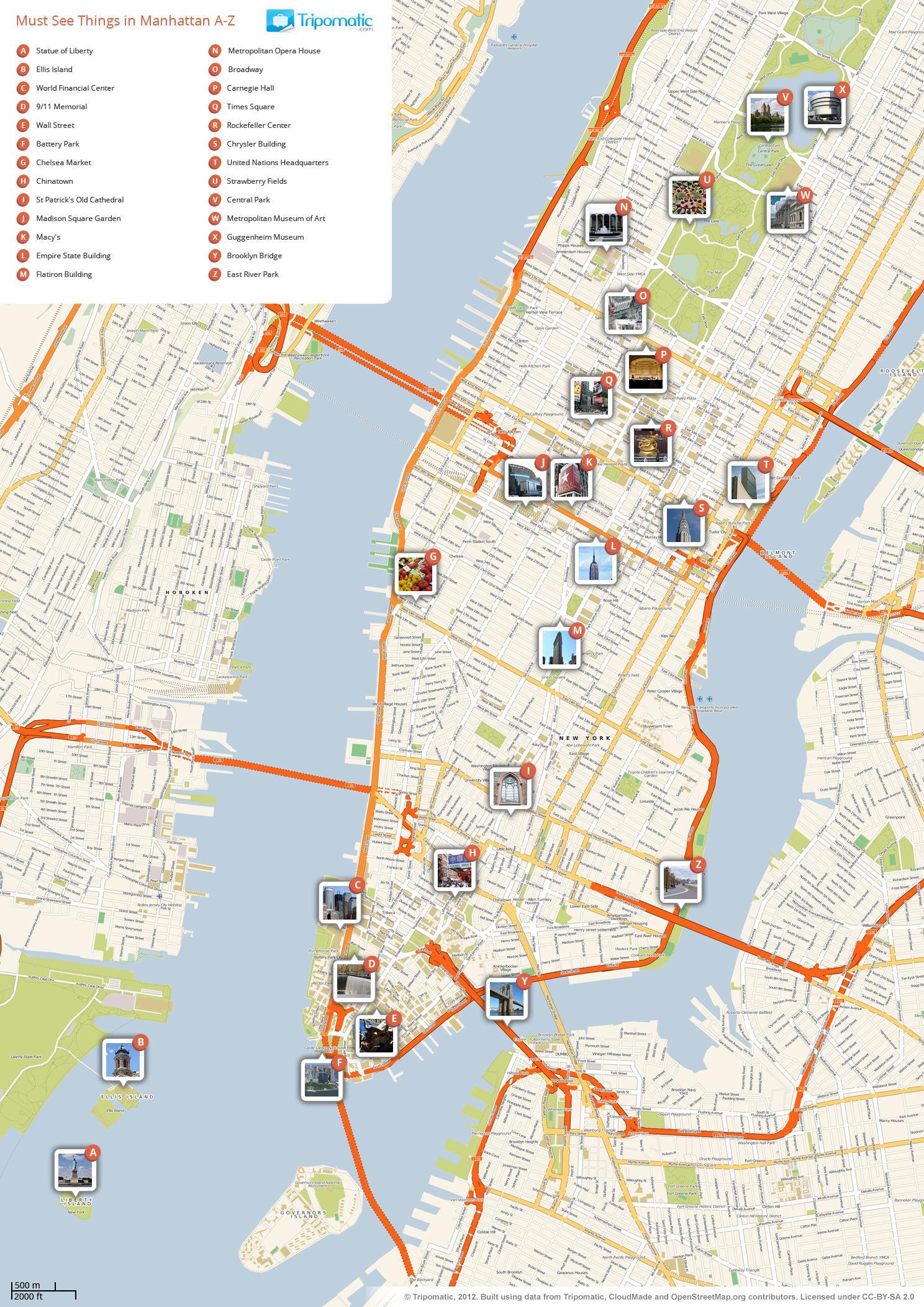 File:new York Manhattan Printable Tourist Attractions Map - Map Of New York Attractions Printable