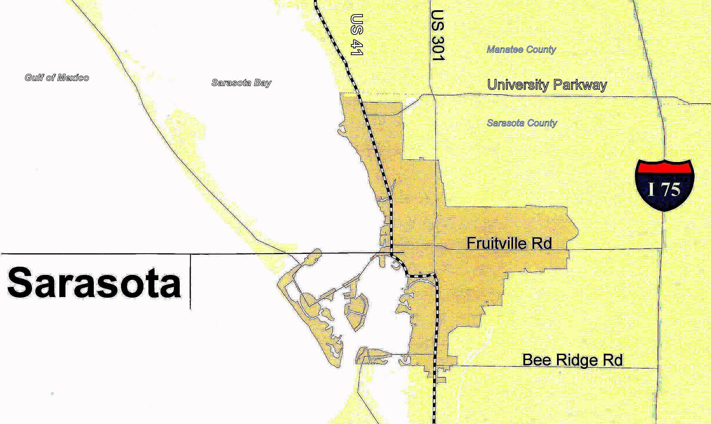File:sarasota - City Colored Gold 2.0 - 83D40M - Map Of Tamiami - Sarasota Beach Florida Map