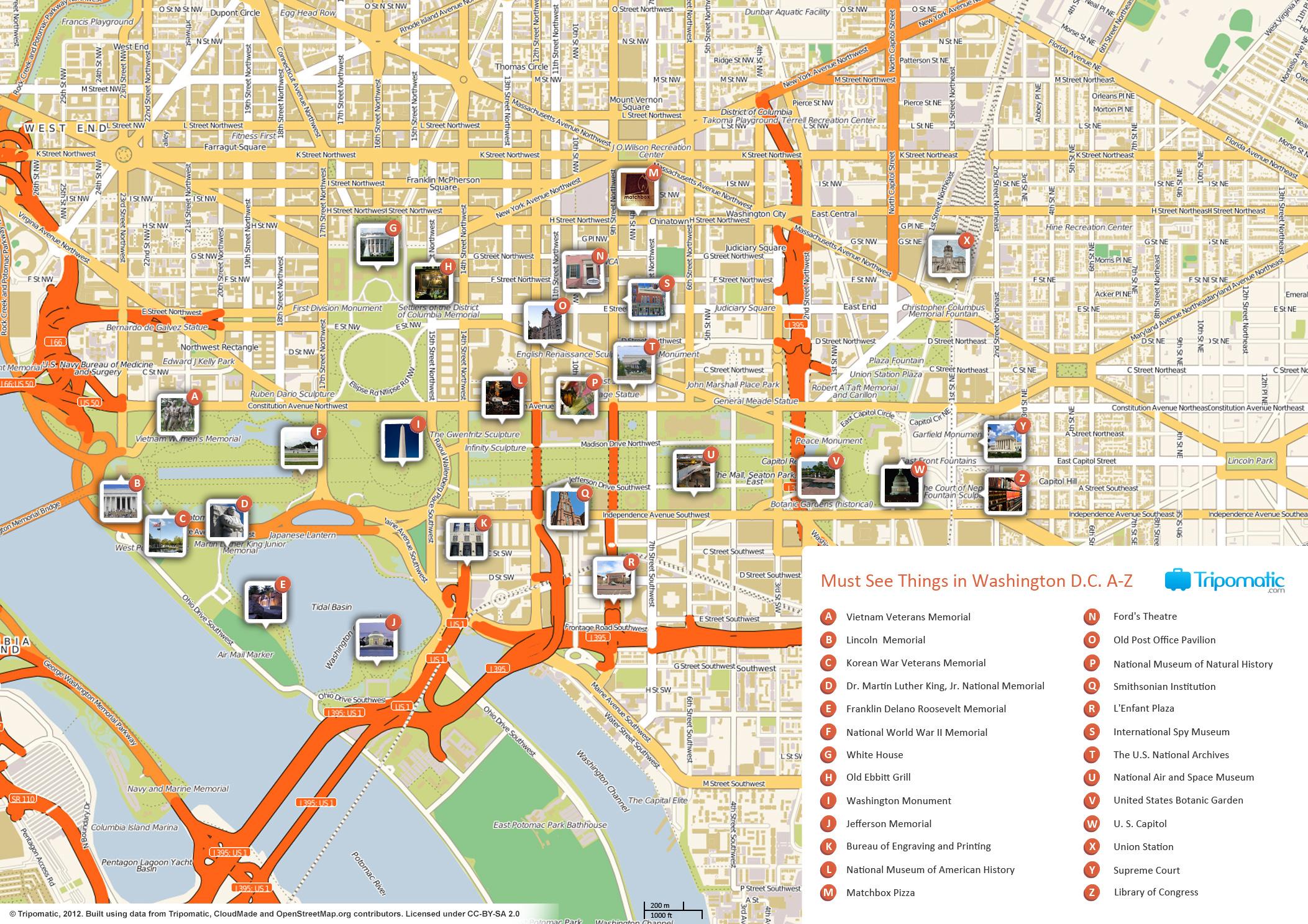 File:washington Dc Printable Tourist Attractions Map - Wikimedia - Printable Map Of Washington Dc Attractions