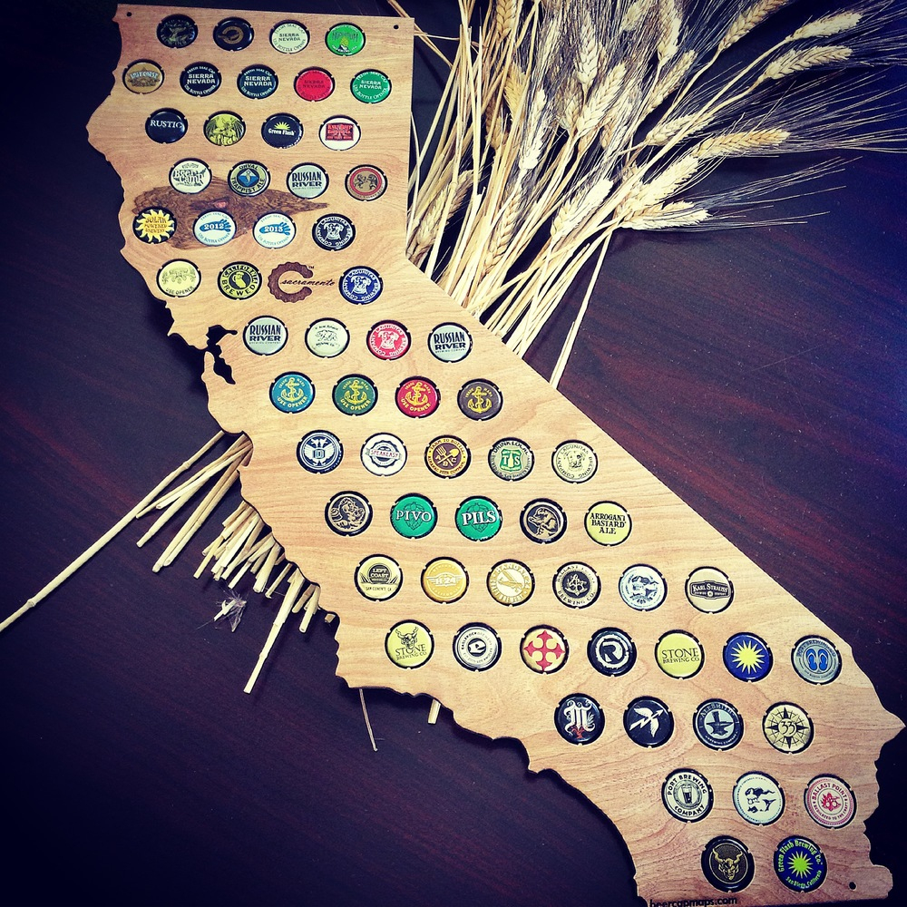 Finished California Beer Cap Map - Swiftmaps - Florida Beer Cap Map