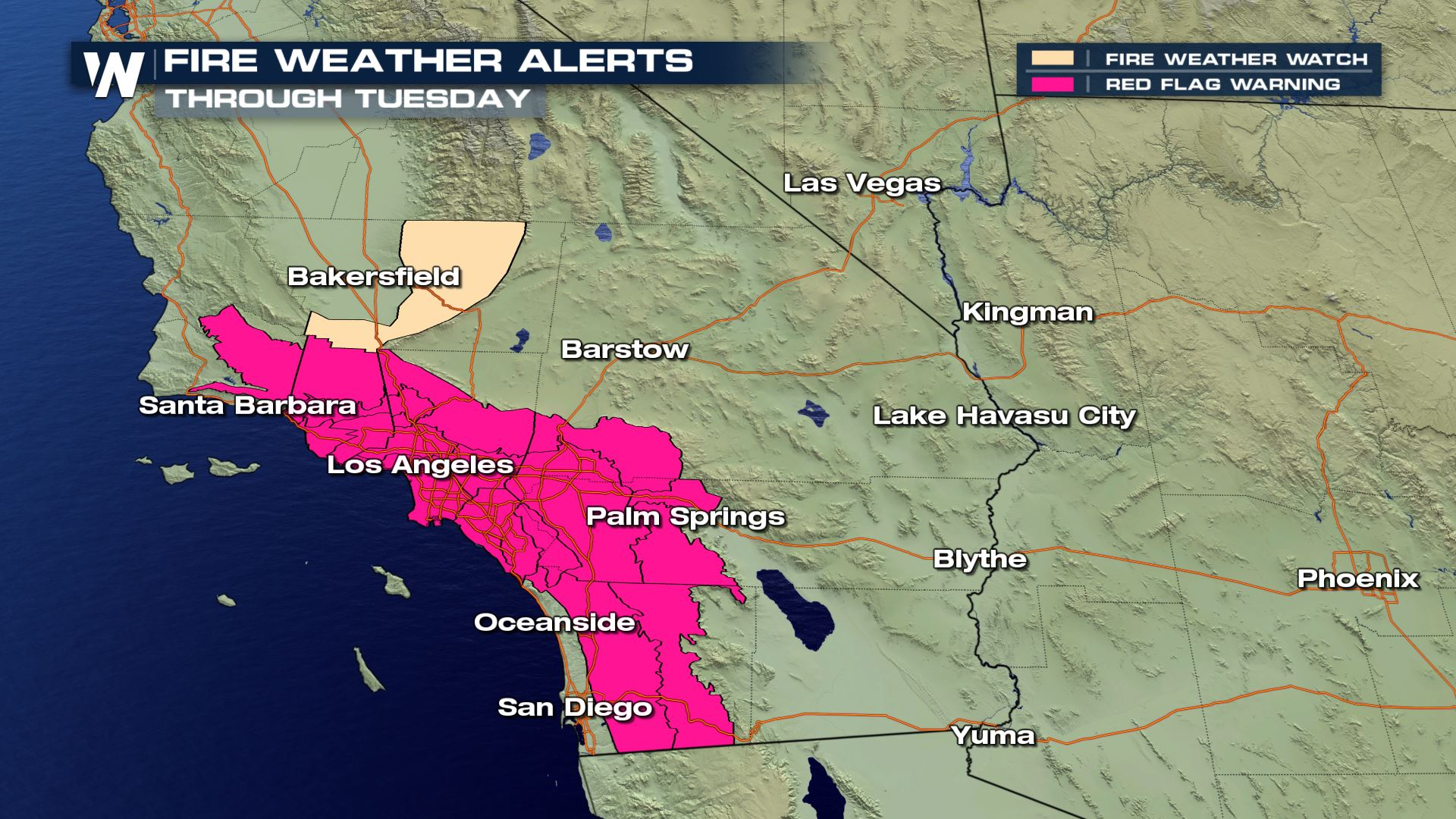 Fire Danger To Increase For Southern California - Weathernation - Fire Watch California Map