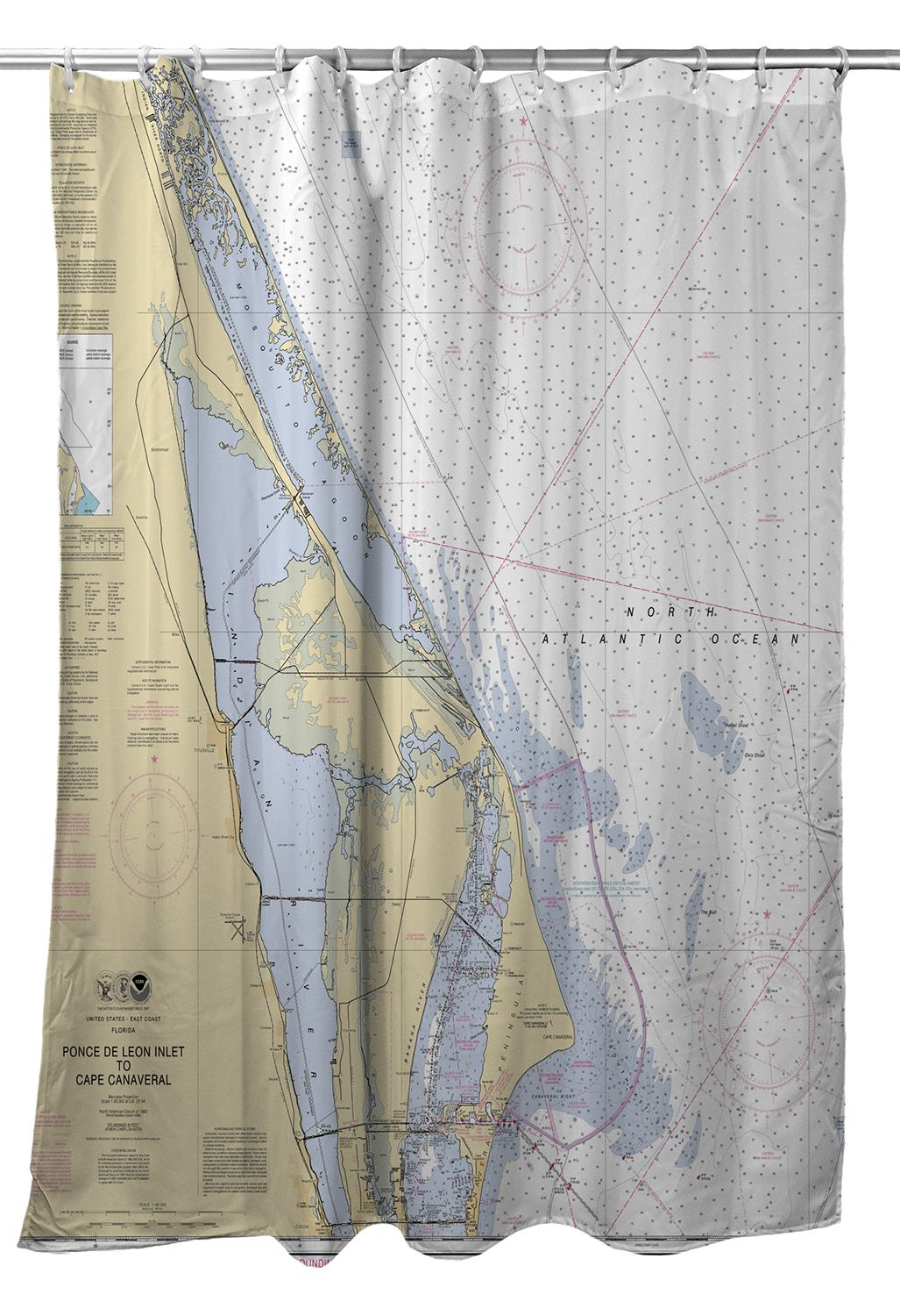 Fl: Cape Canaveral, Fl Nautical Chart Shower Curtain In 2019 - Florida Map Shower Curtain