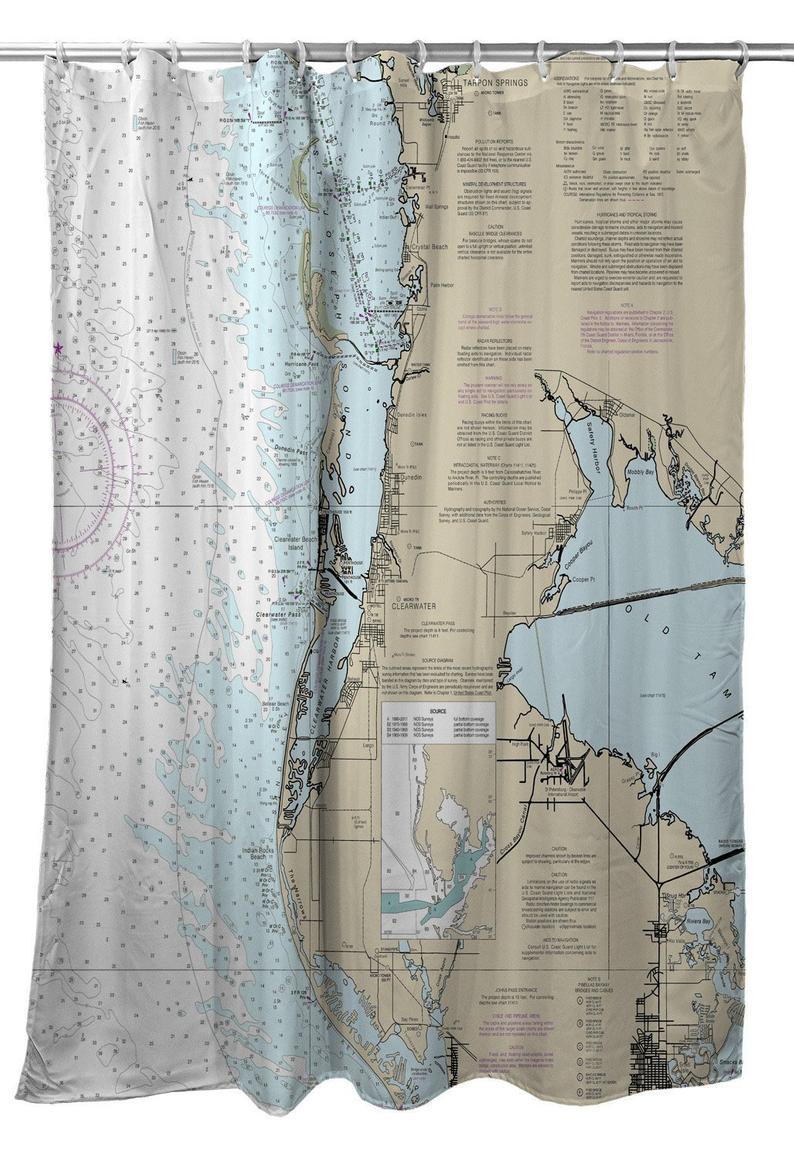 Fl: Clearwater Fl Nautical Chart Shower Curtain Map Shower | Etsy - Florida Map Shower Curtain