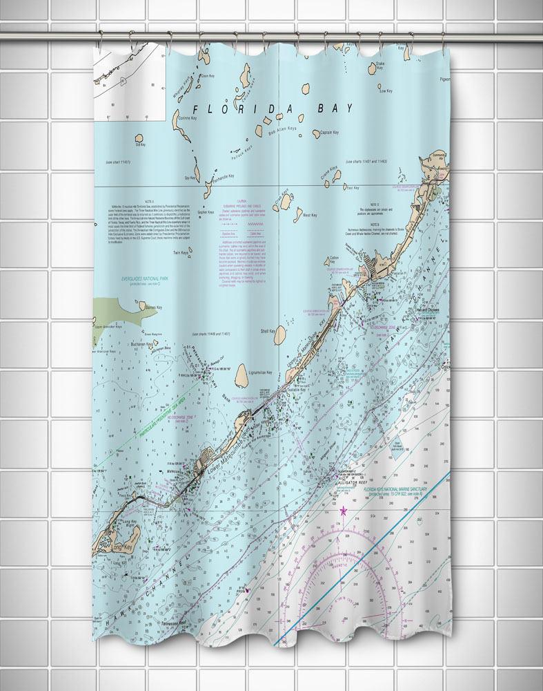 Fl: Islamorada Fl Nautical Chart Shower Curtain Map Shower | Etsy - Florida Map Shower Curtain